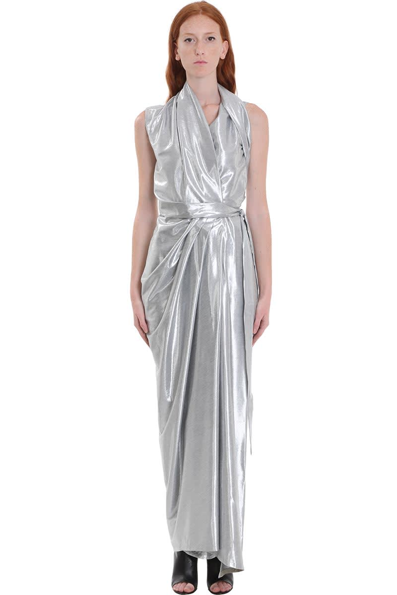 Rick Owens Wrap Ls Gown Dress In Silver Tech & synthetic