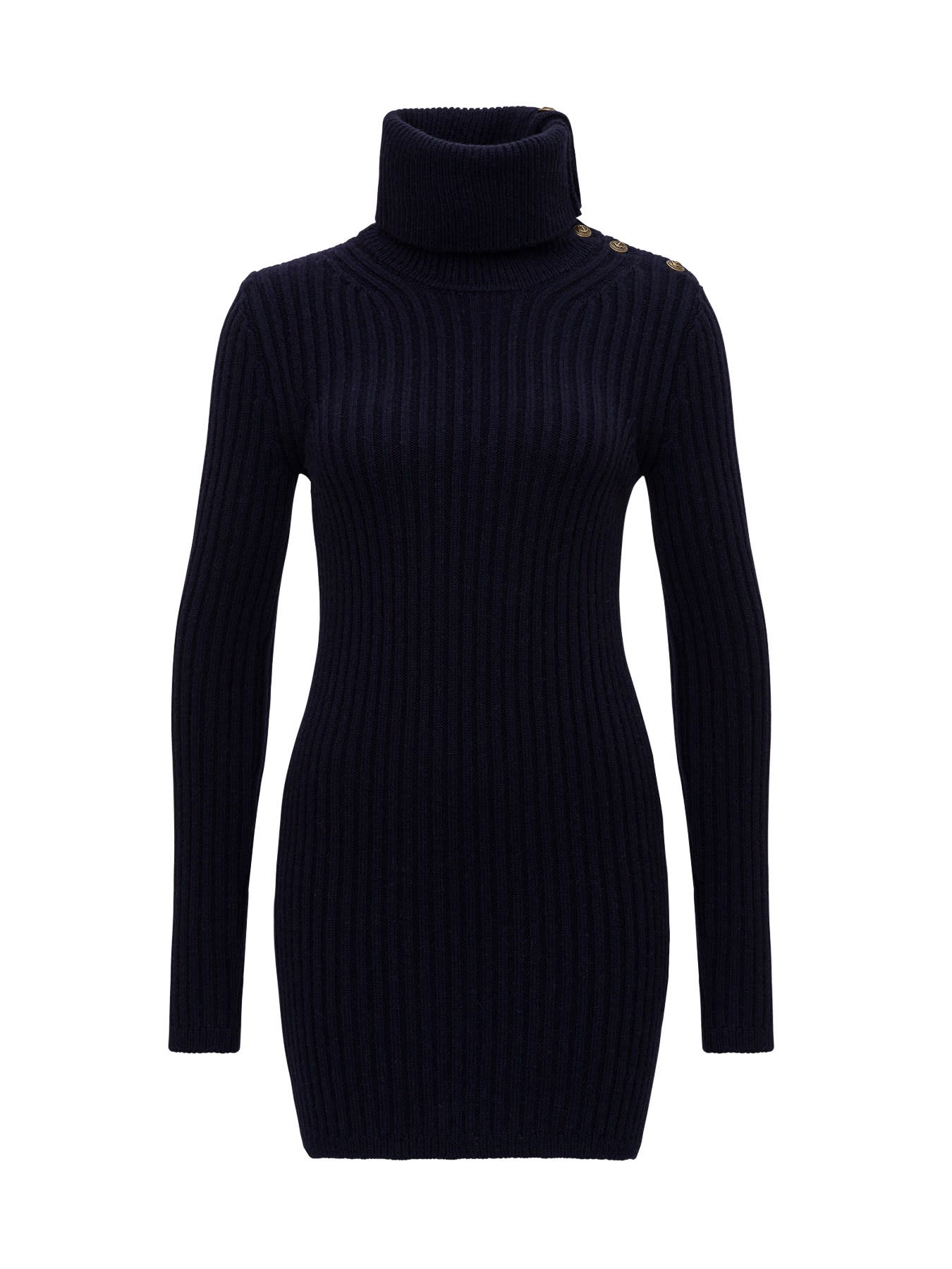 Saint Laurent Knitted Mini Dress With Cowl Neck And Buttons