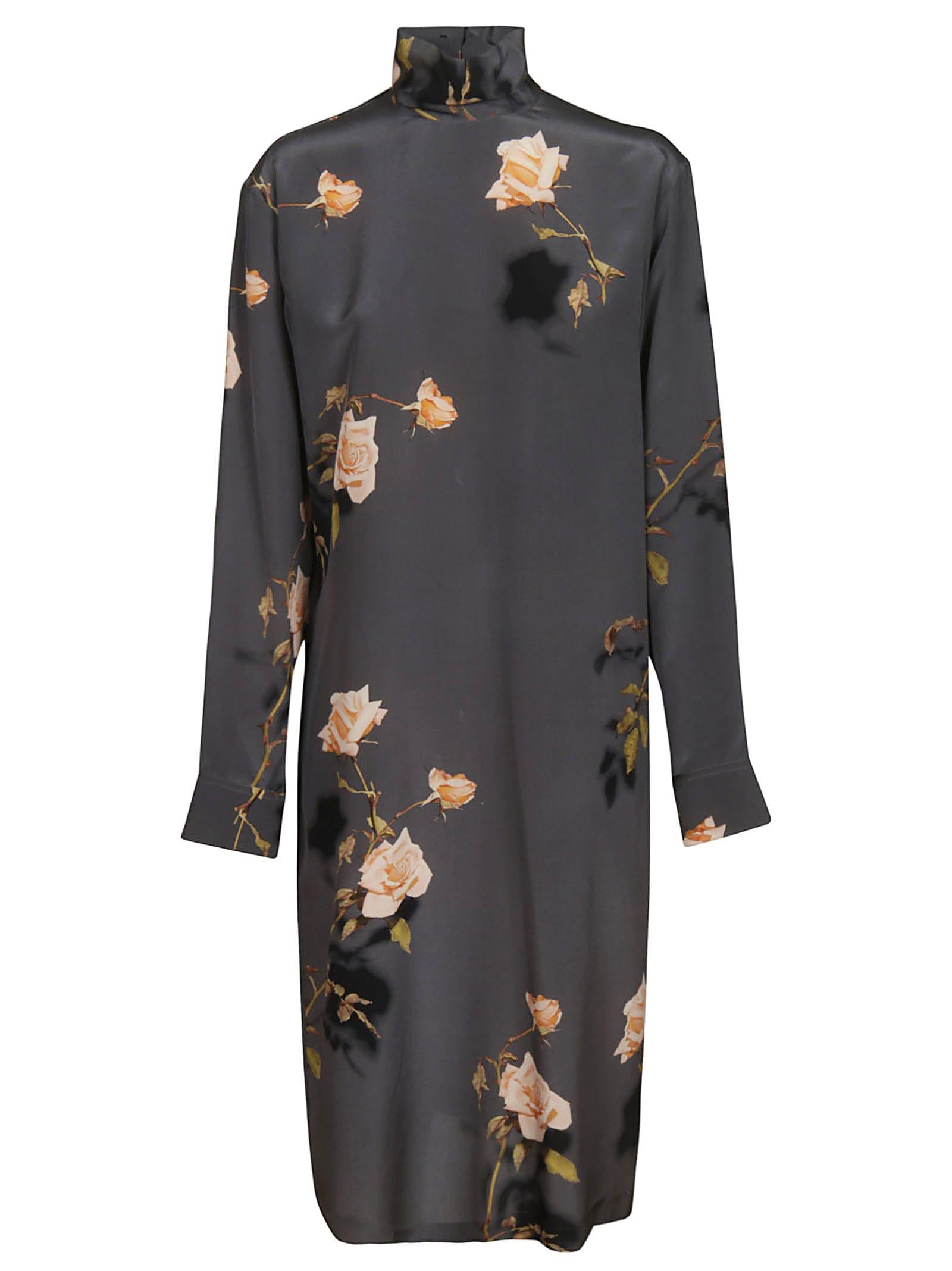 Dries Van Noten Rose Print Dress