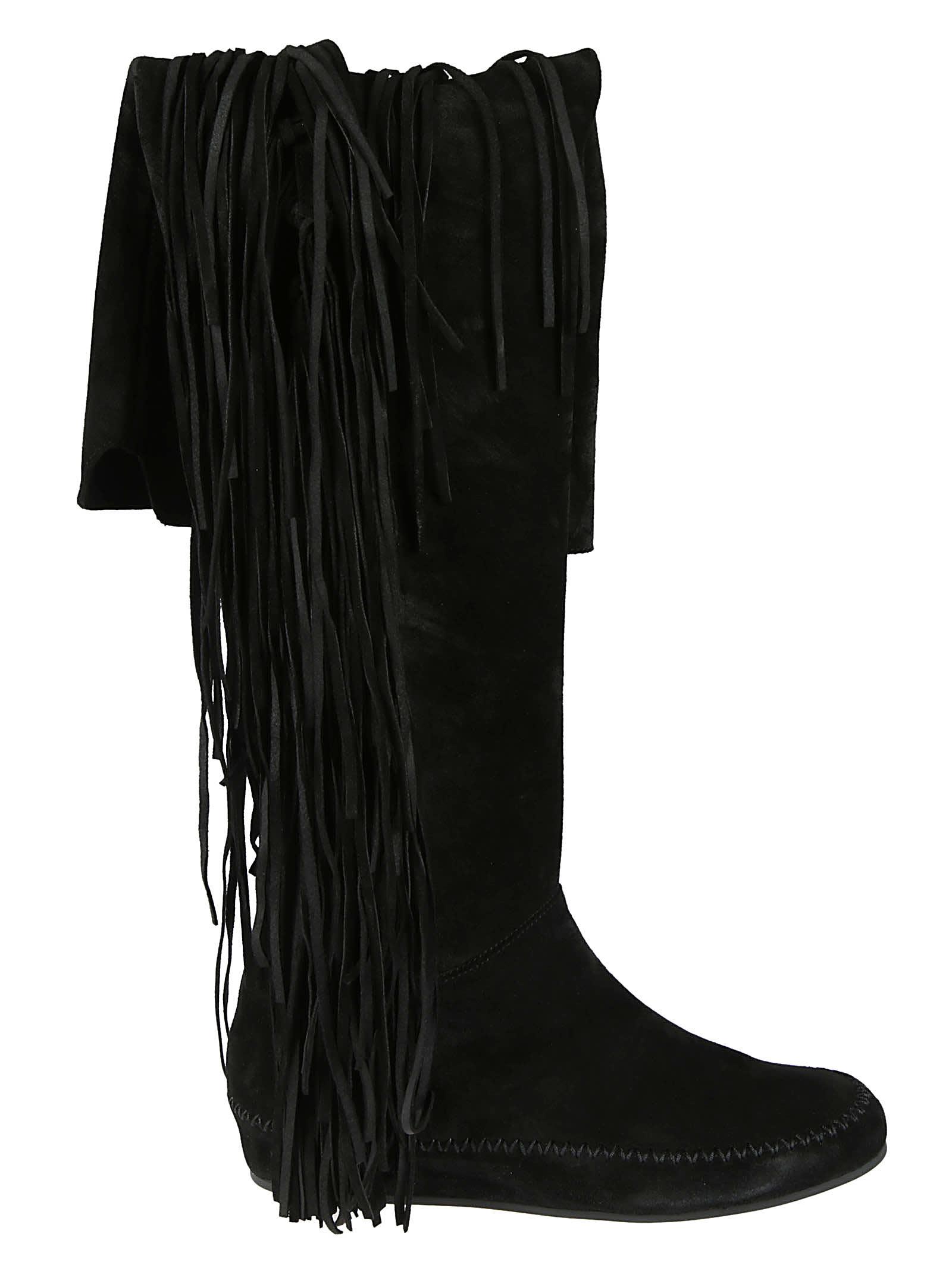 Etro Fringe Detail Boots In Black
