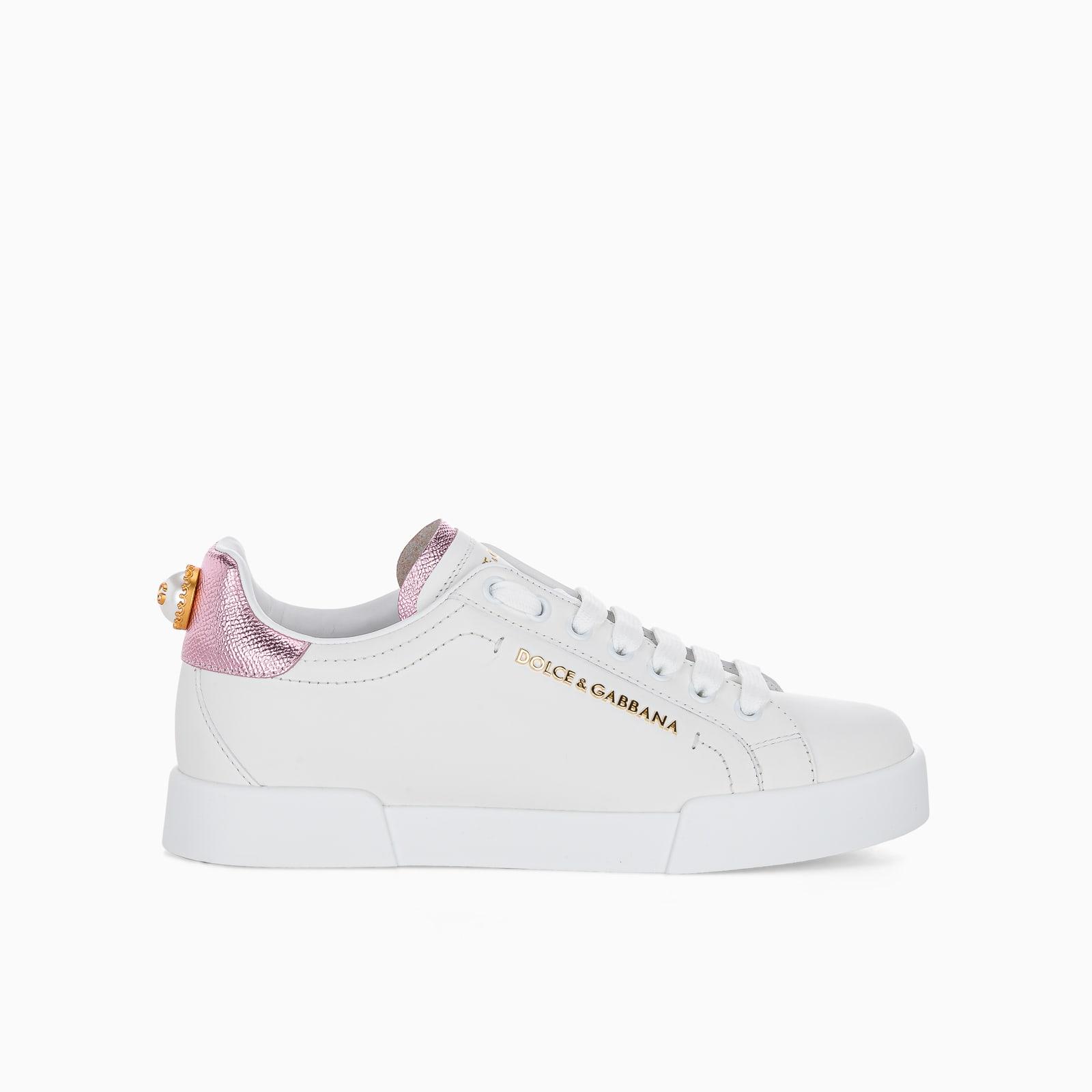 Dolce & Gabbana Portofino Sneakers In White Pink