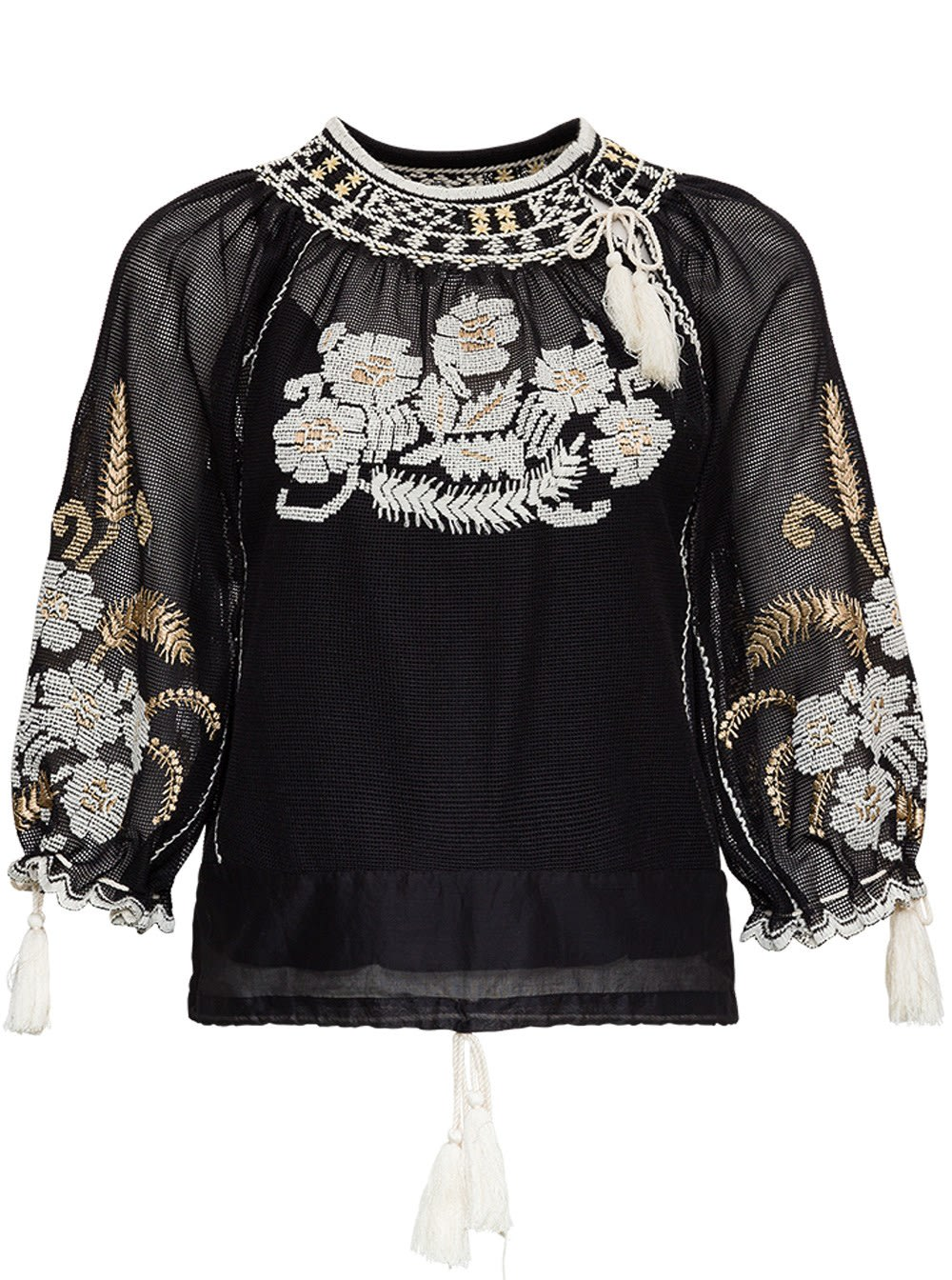 Red Valentino Mesh Shirt With Floral Embroidery In Black