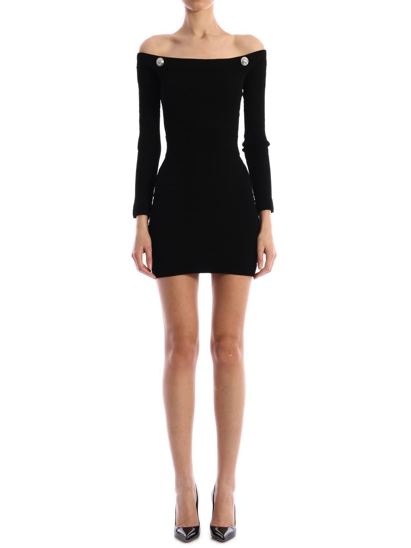 Buy Balmain Stretch Dress Black online, shop Balmain with free shipping
