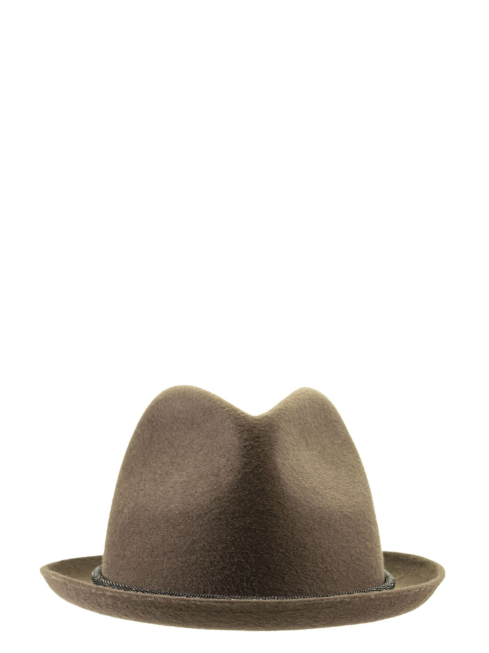 Brunello Cucinelli HAT FEDORA IN LAPIN WITH PRECIOUS BAND