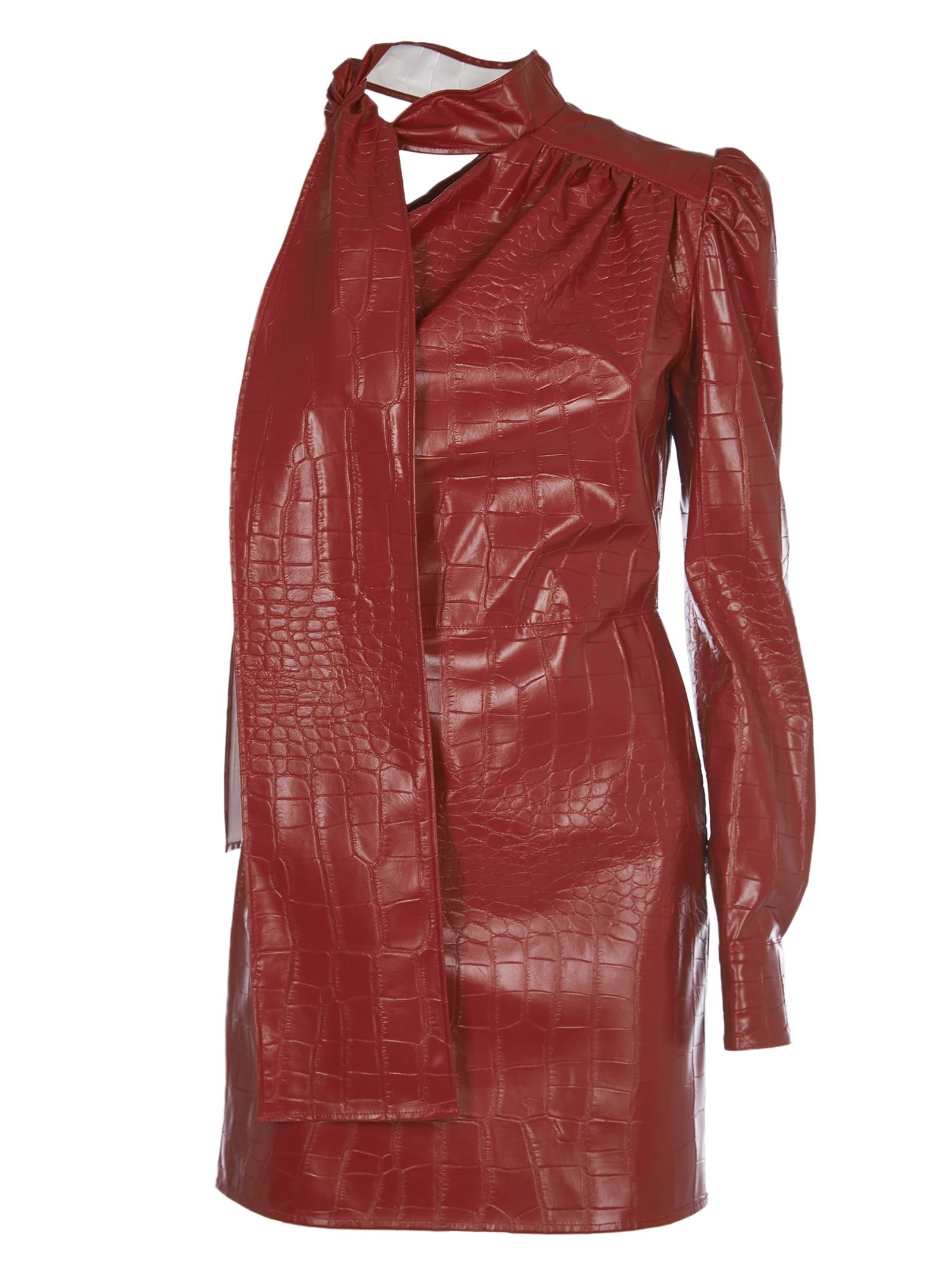 MSGM Red Crocodile Print Dress