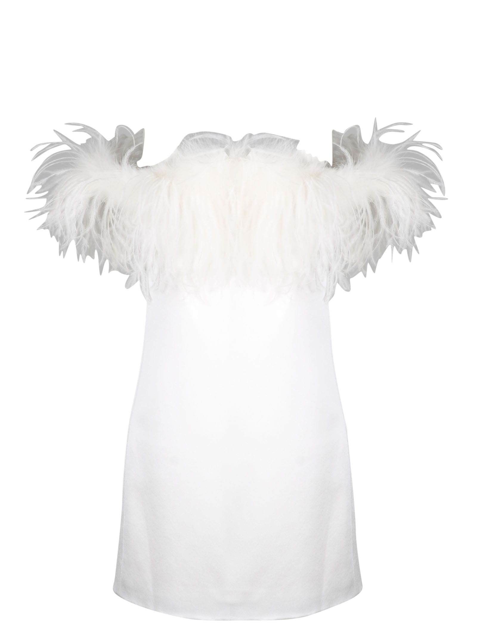 Buy Saint Laurent Mini Dress With Feathers online, shop Saint Laurent with free shipping