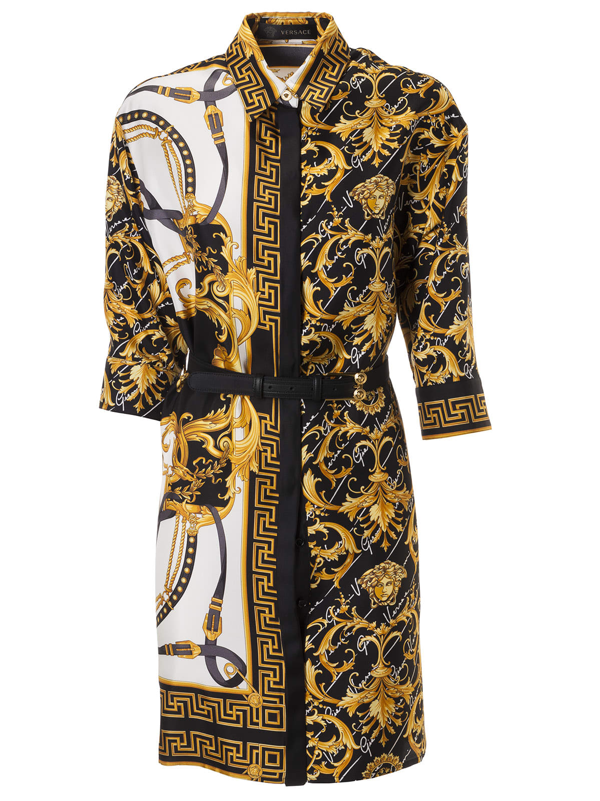 Buy Versace Belted Waist Contrast Print Dress online, shop Versace with free shipping