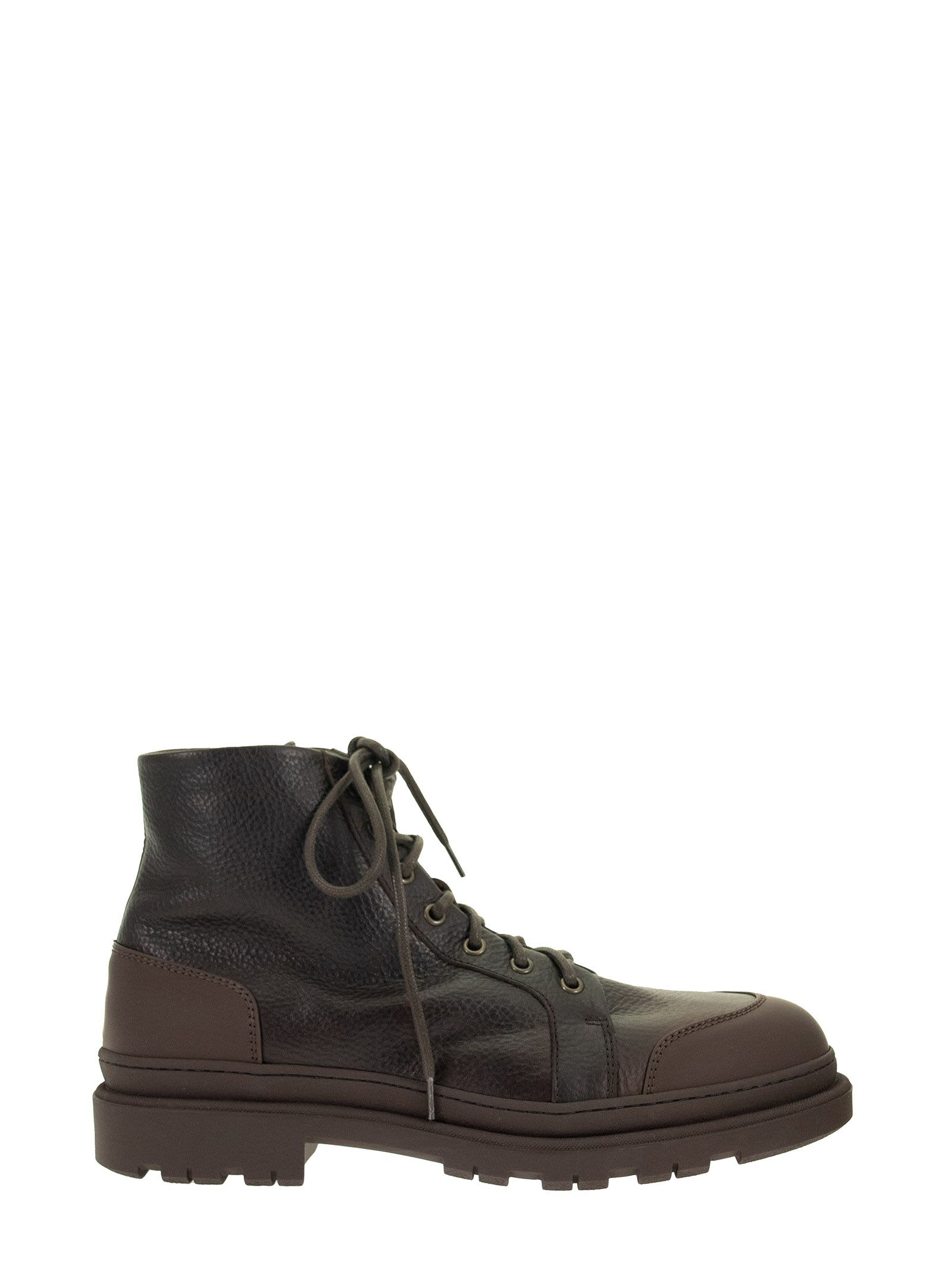 Brunello Cucinelli ANKLE BOOT IN GRAINED CALFSKIN AND RUBBER-EFFECT CALFSKIN
