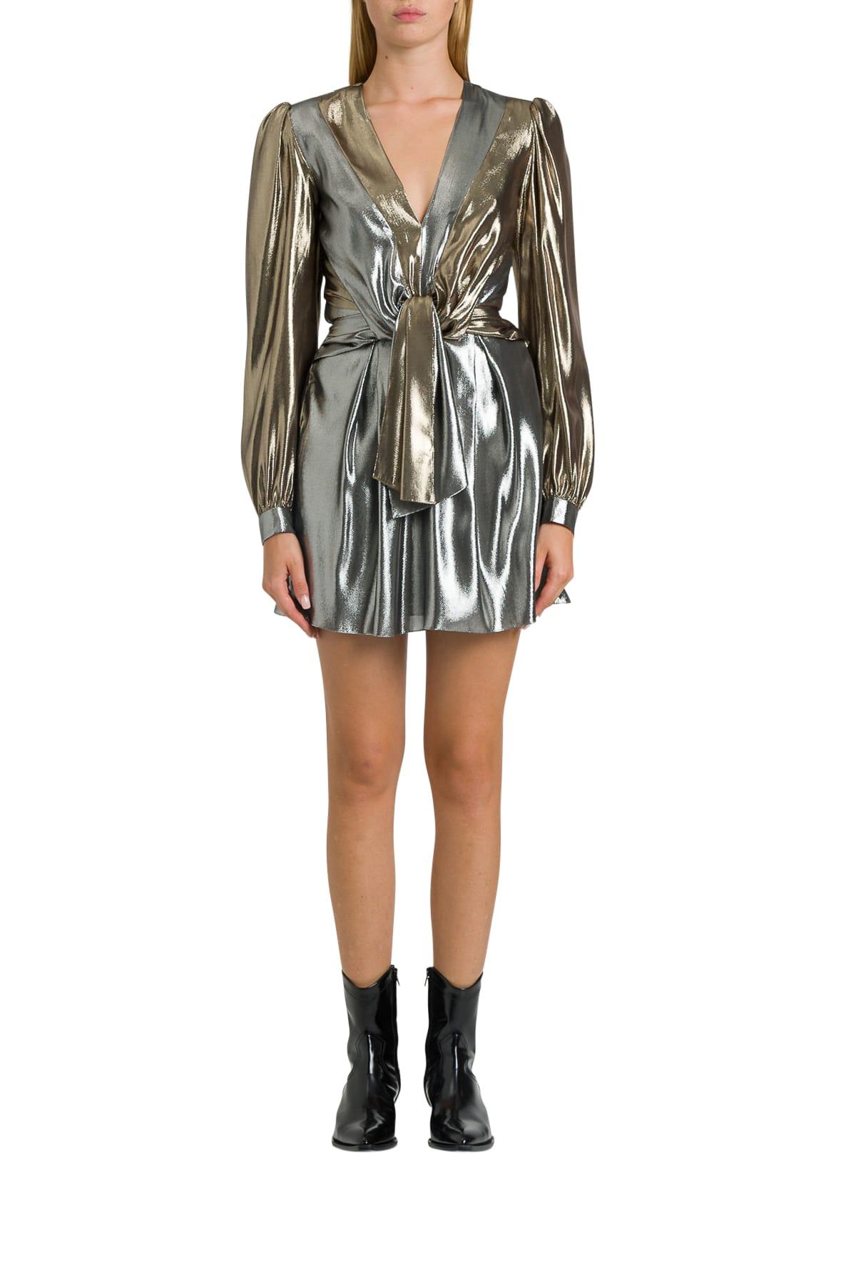 Alberta Ferretti Laminated Silk Minidress