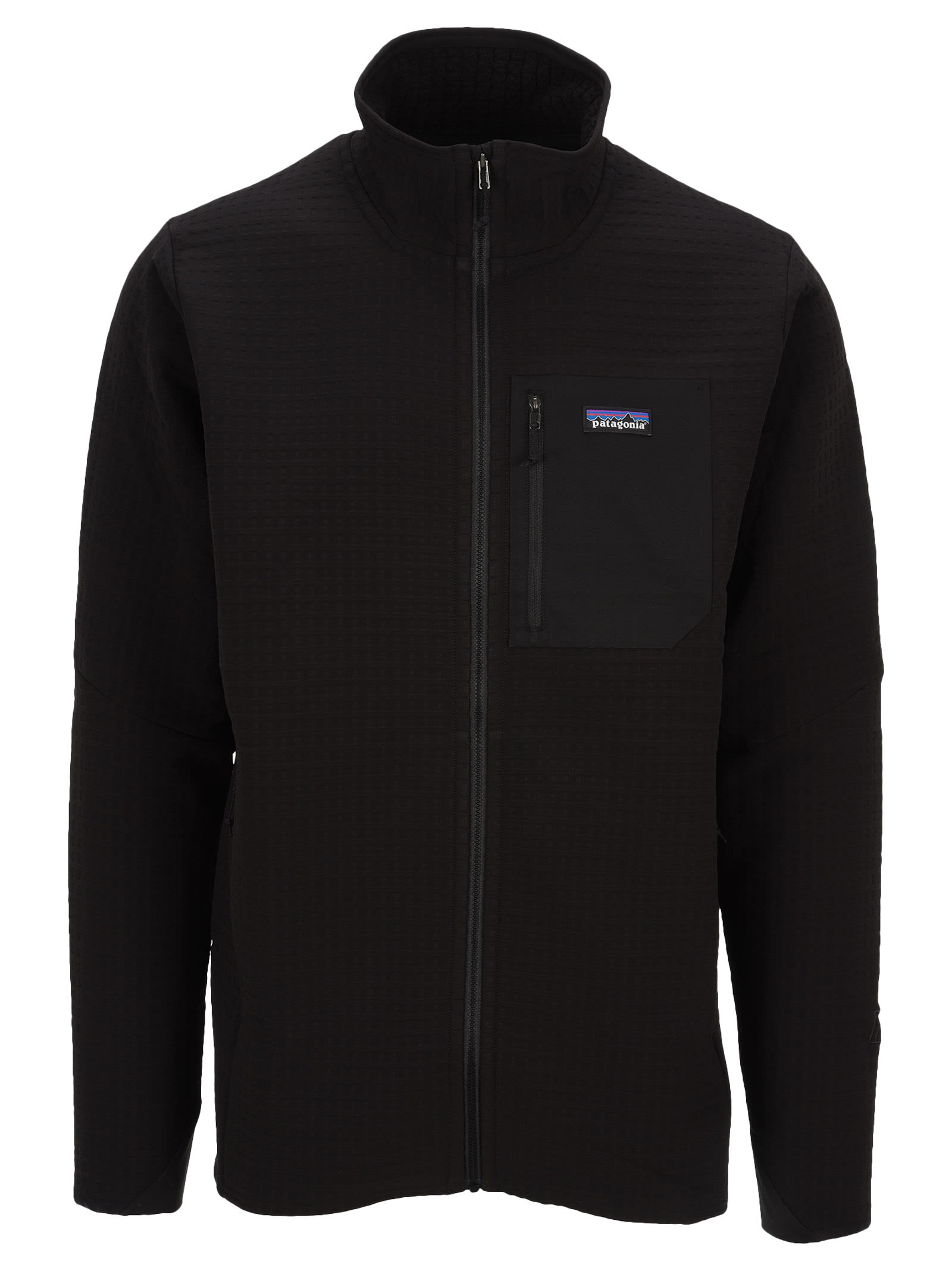 Techface Jacket By Patagonia. Featuring: - High Standing Collar; - Front Zip Fastening; - Chest Zip Pocket With Logo Patch; - Side Zip Pockets; - Long Sleeves; - Straight Hem. Composition: 77% RECYCLED POLYESTER, 17% POLYESTER, 6% ELASTANE