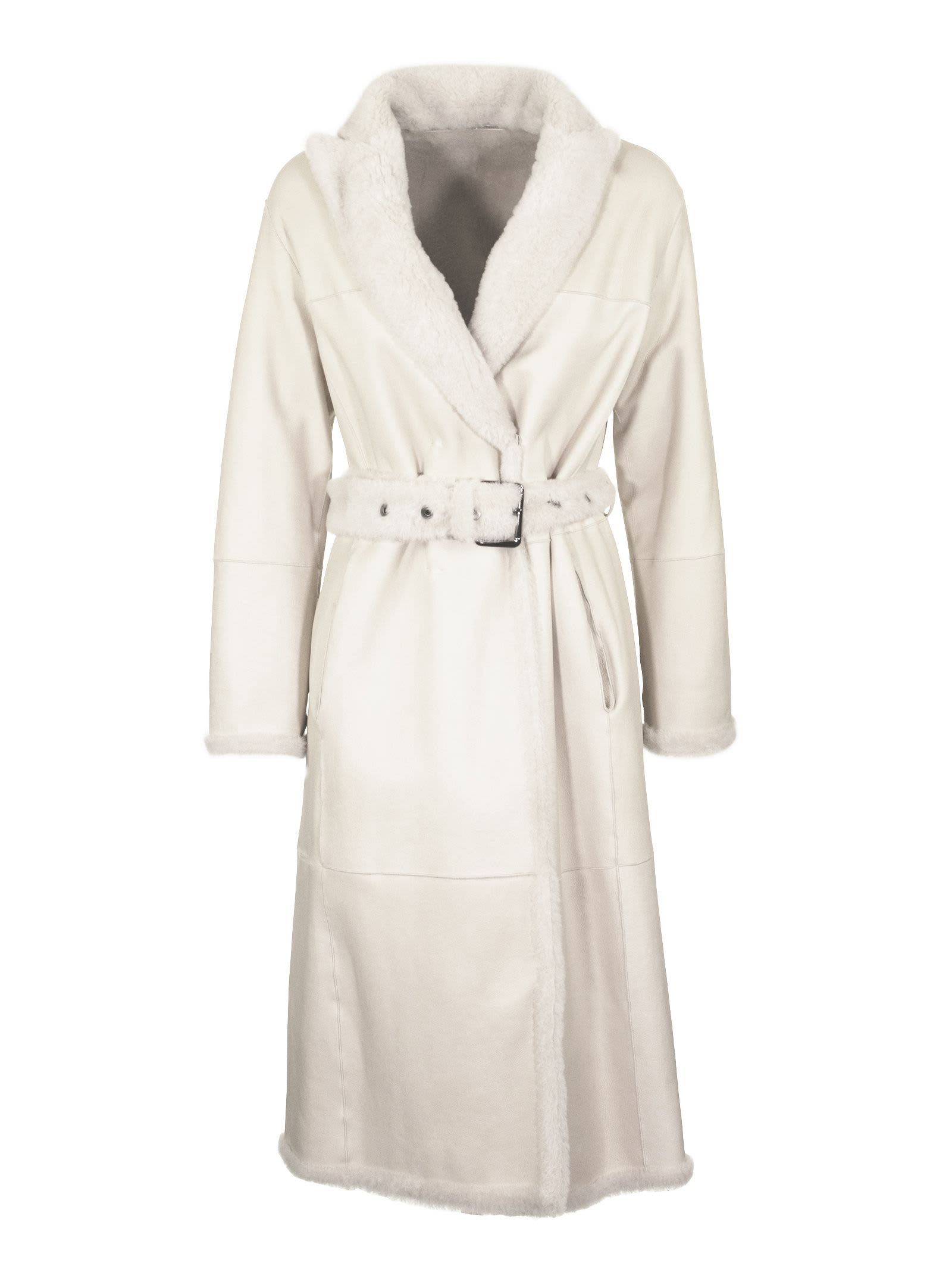 Brunello Cucinelli Shearling Reversible Belted Coat With Monili Ivory