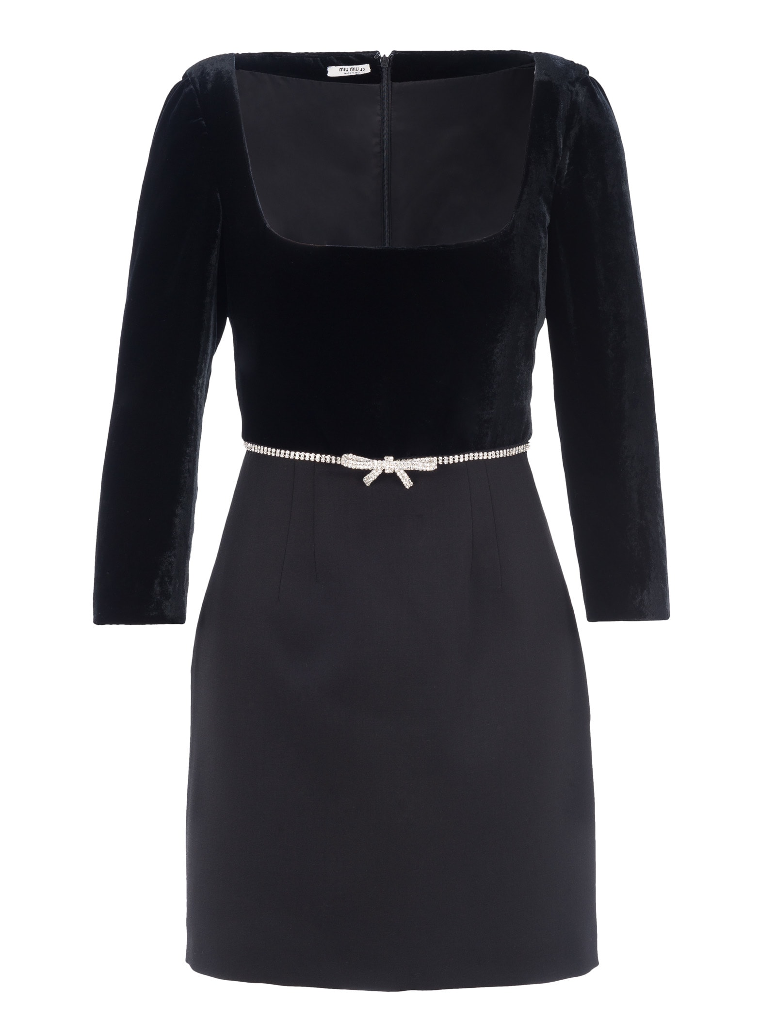 Miu Miu Embellished Bow Mini Dress