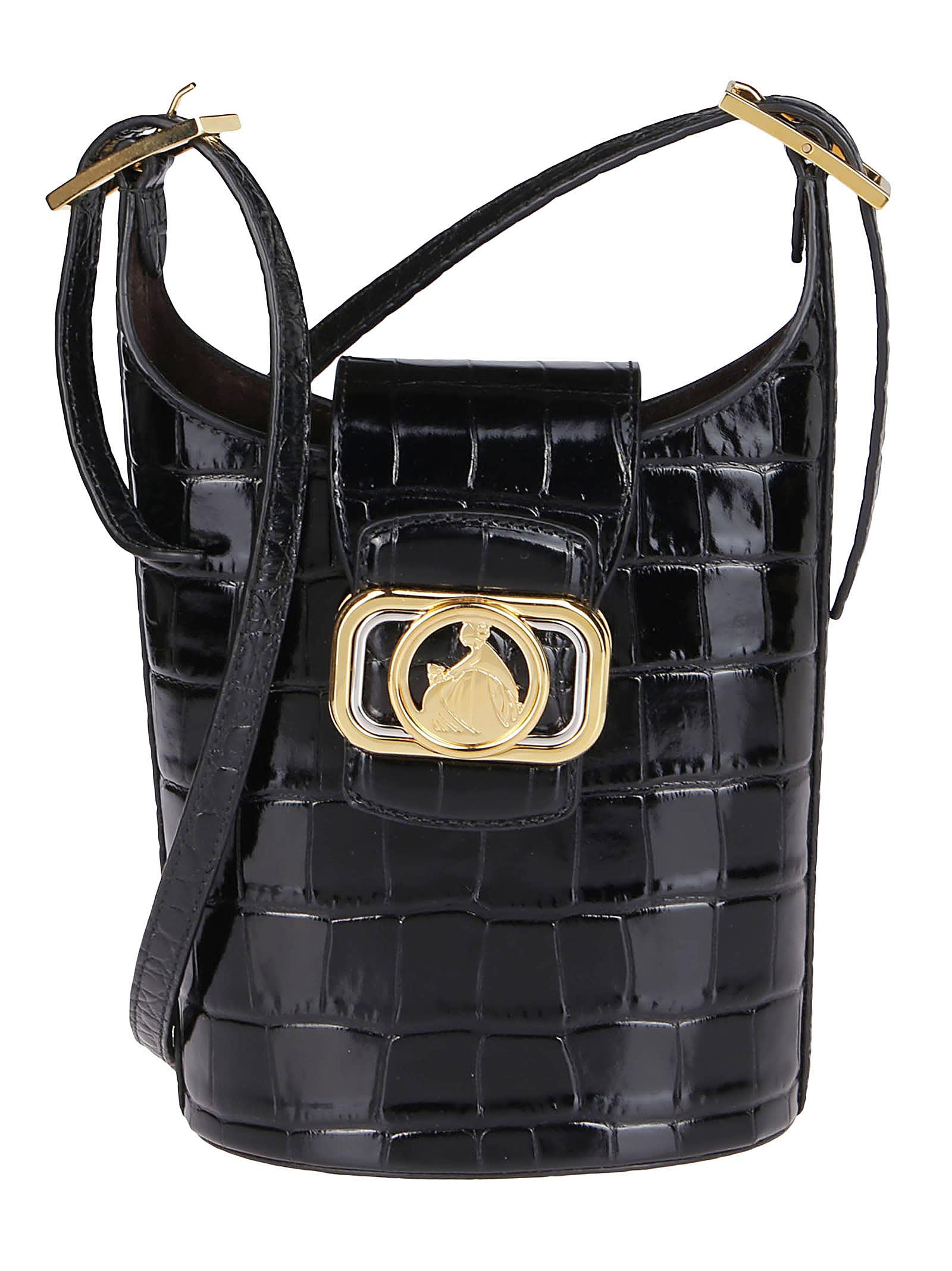 Lanvin BLACK LEATHER SWAN BUCKET BAG
