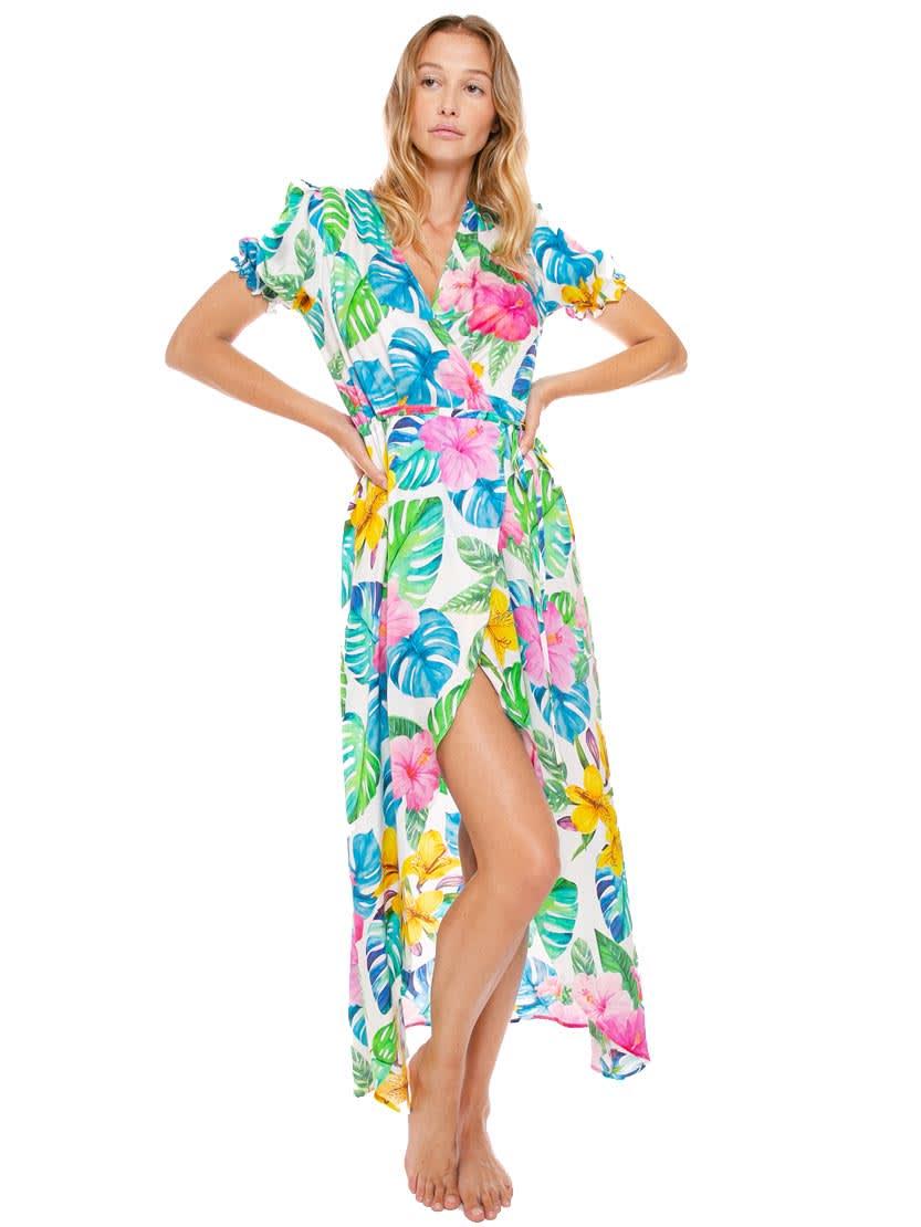 Buy White Tropical Print Long Dress online, shop MC2 Saint Barth with free shipping