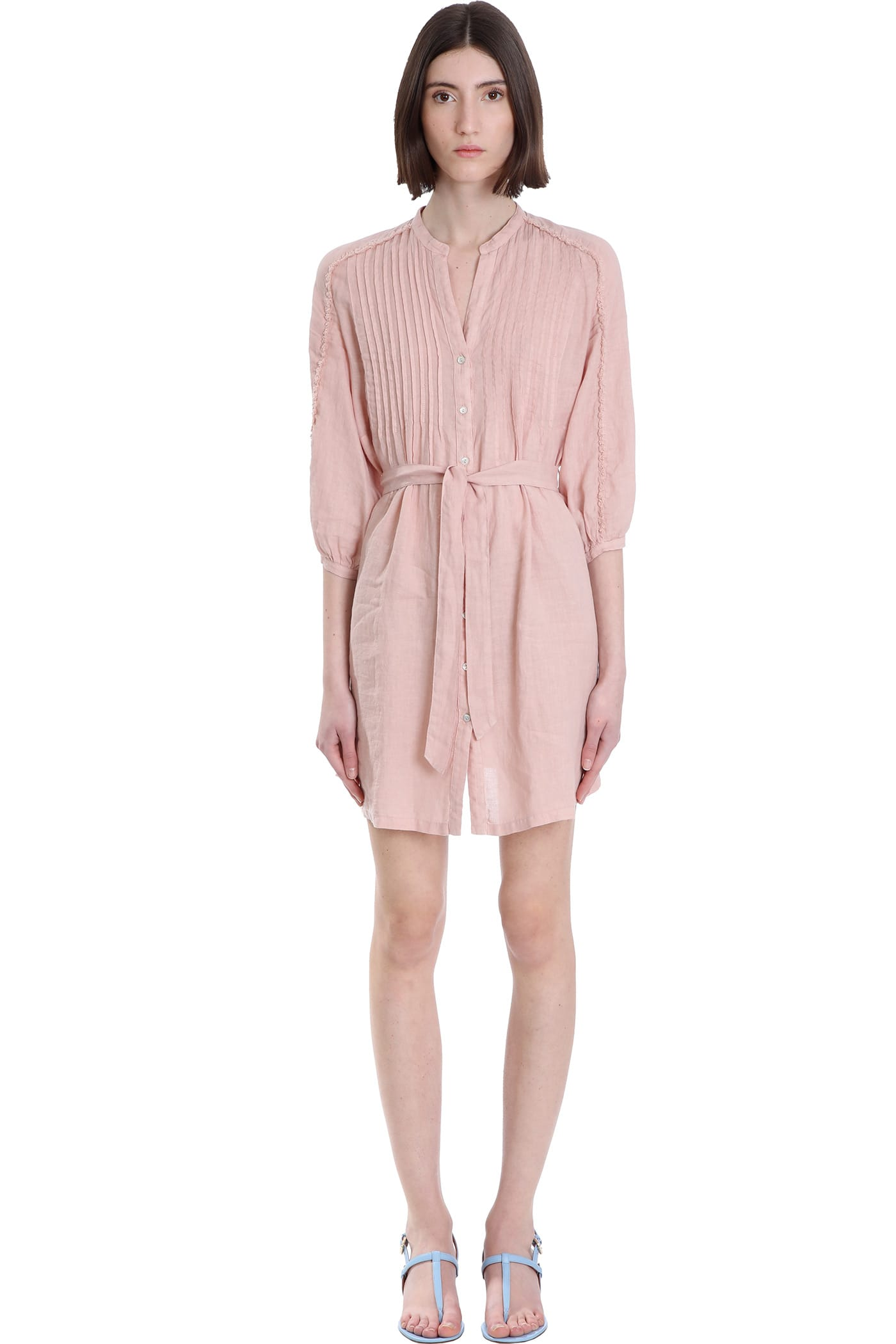 Buy 120% Lino Dress In Rose-pink Linen online, shop 120 Lino with free shipping