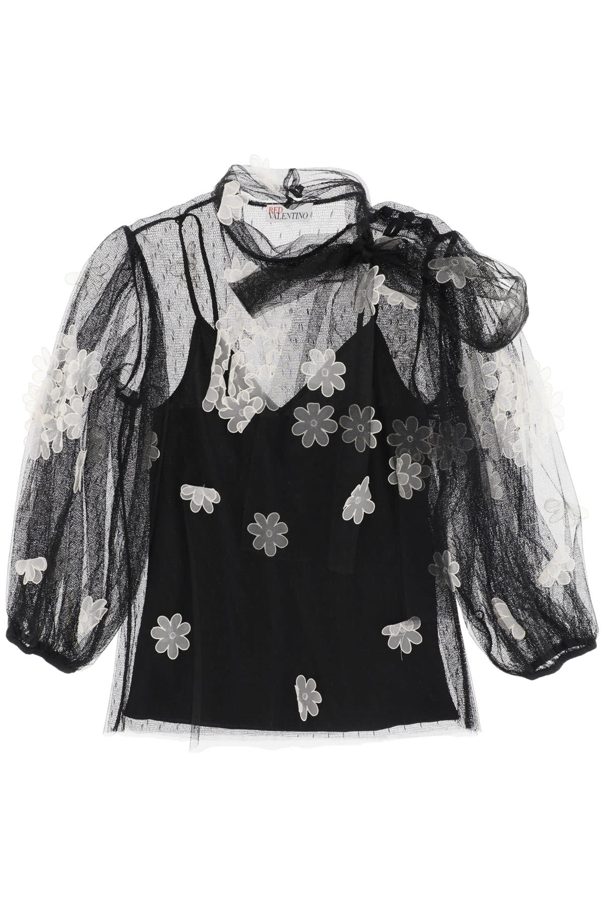 RED VALENTINO TULLE BLOUSE WITH ORGANZA FLOWERS
