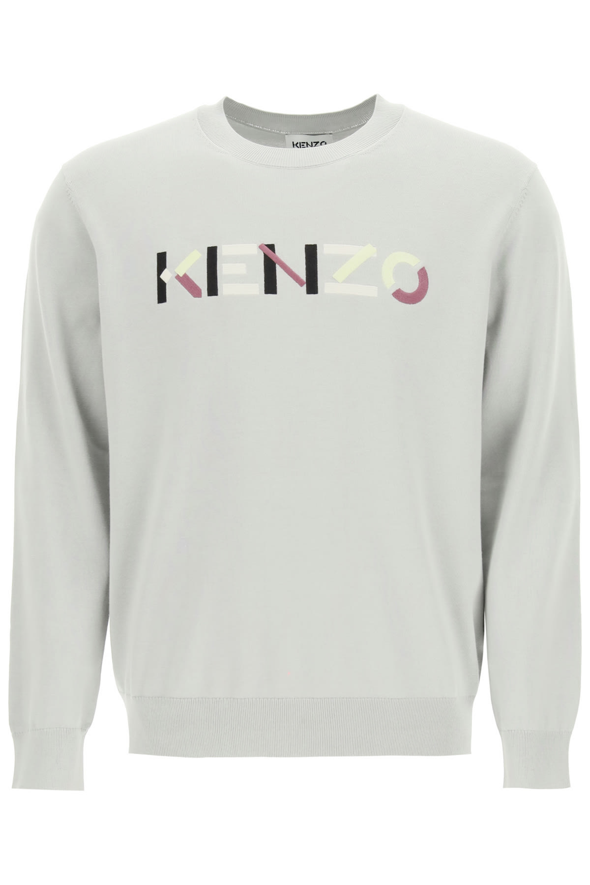KENZO SWEATER WITH MULTICOLOUR LOGO EMBROIDERY