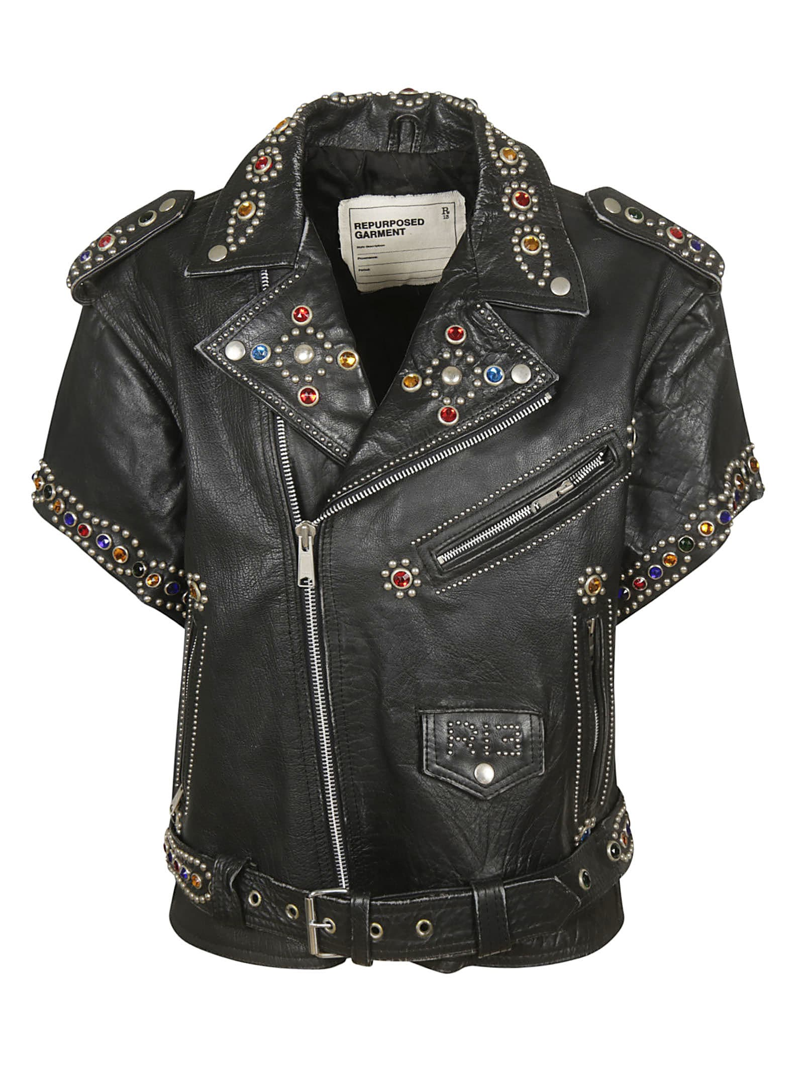R13 Short Sleeve Studded Leather Jacket