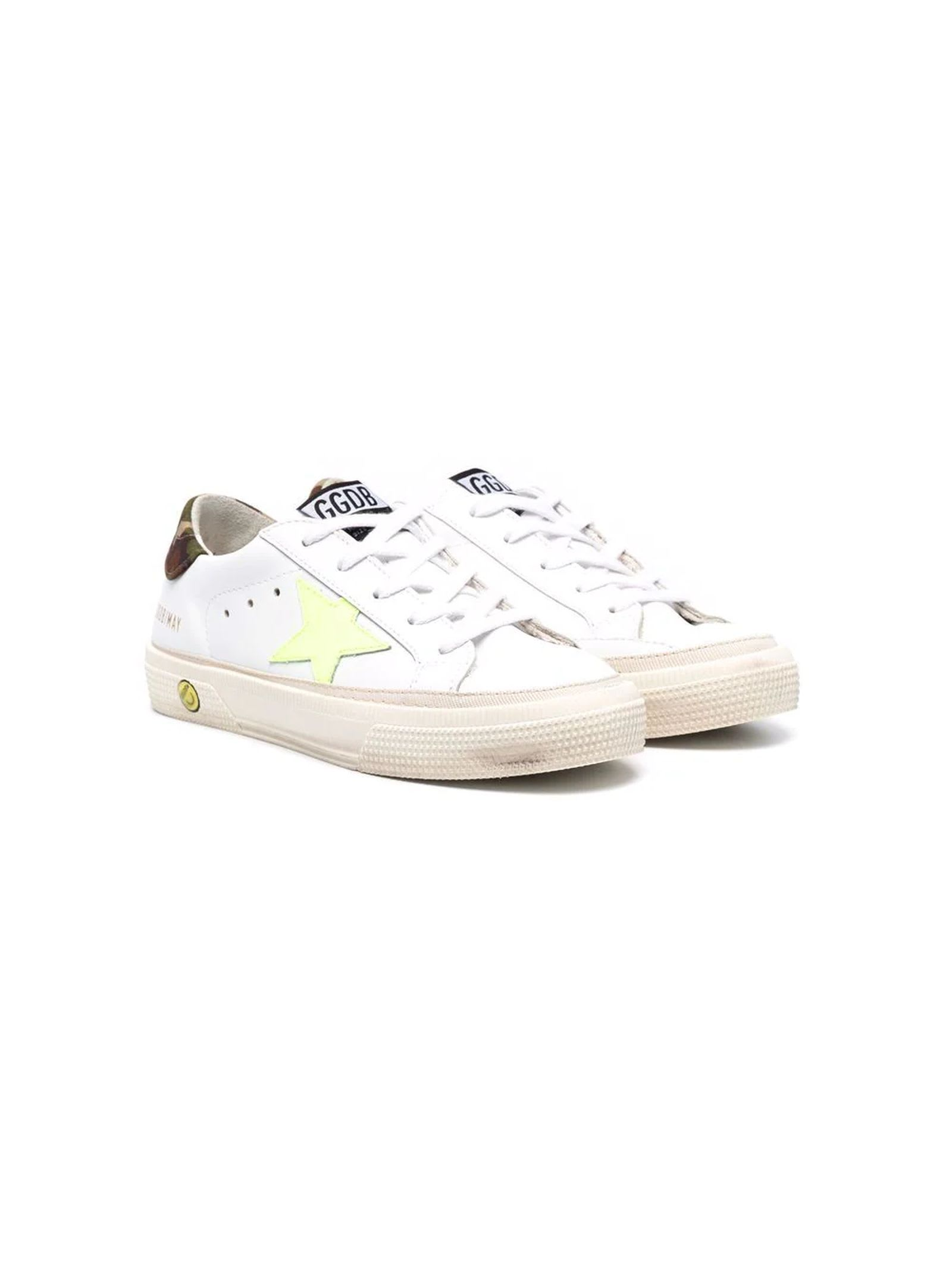 Golden Goose White Leather May Sneakers