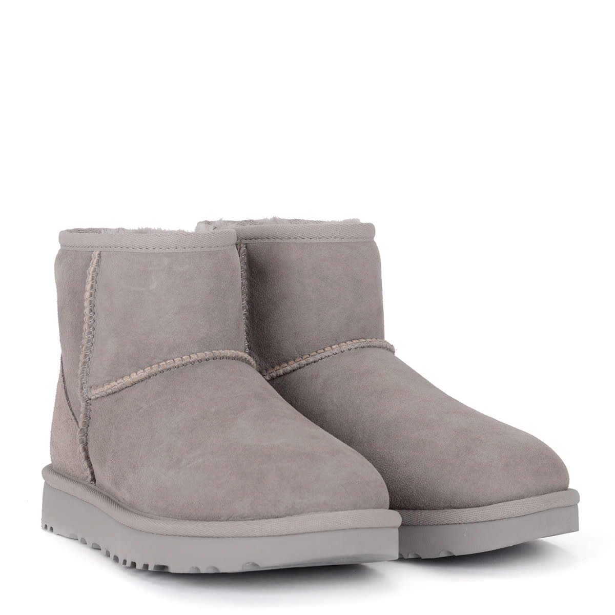 20f9f20be46 Ugg Classic Ii Mini Light Grey Suede Sheepskin Ankle Boots.