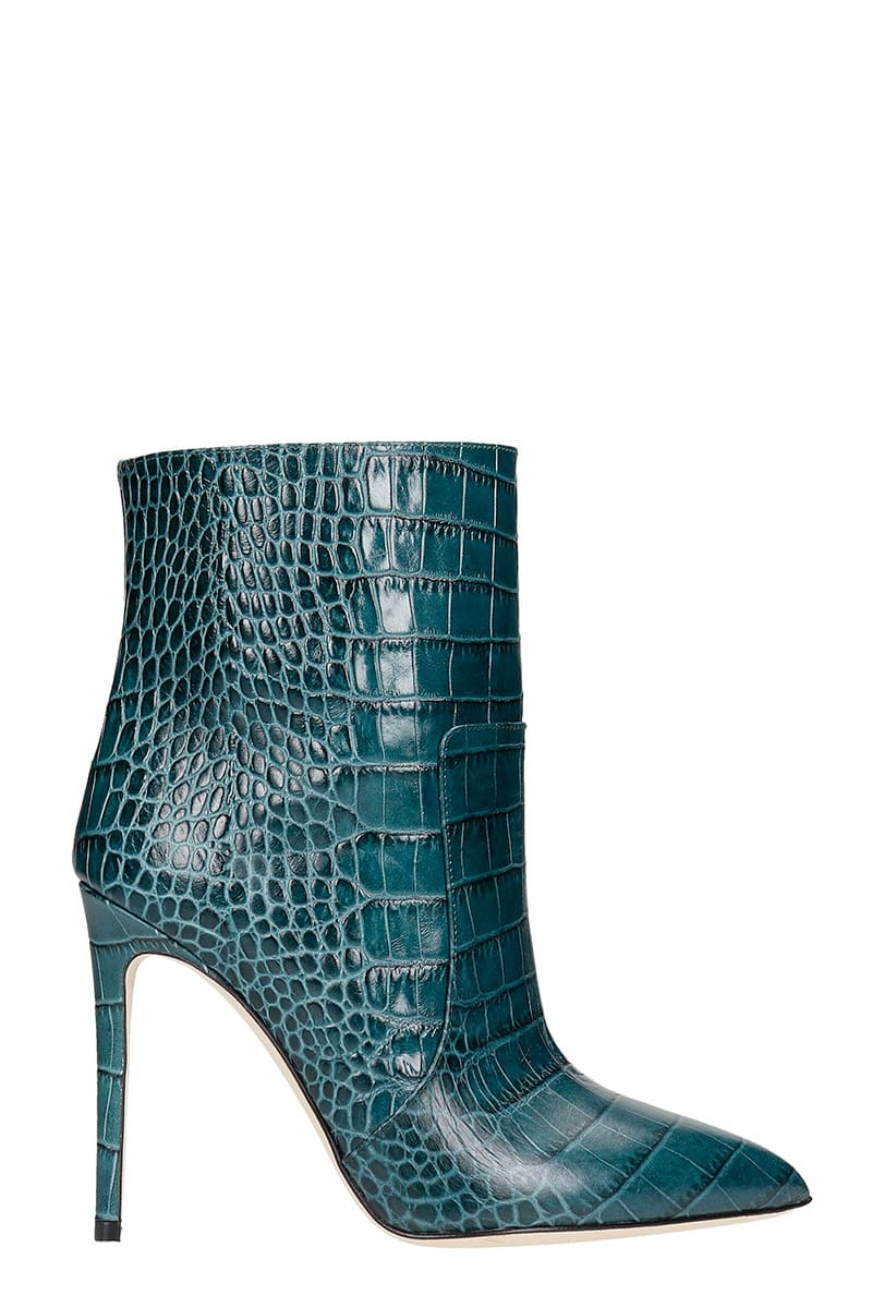 Paris Texas High Heels Ankle Boots In Green Leather