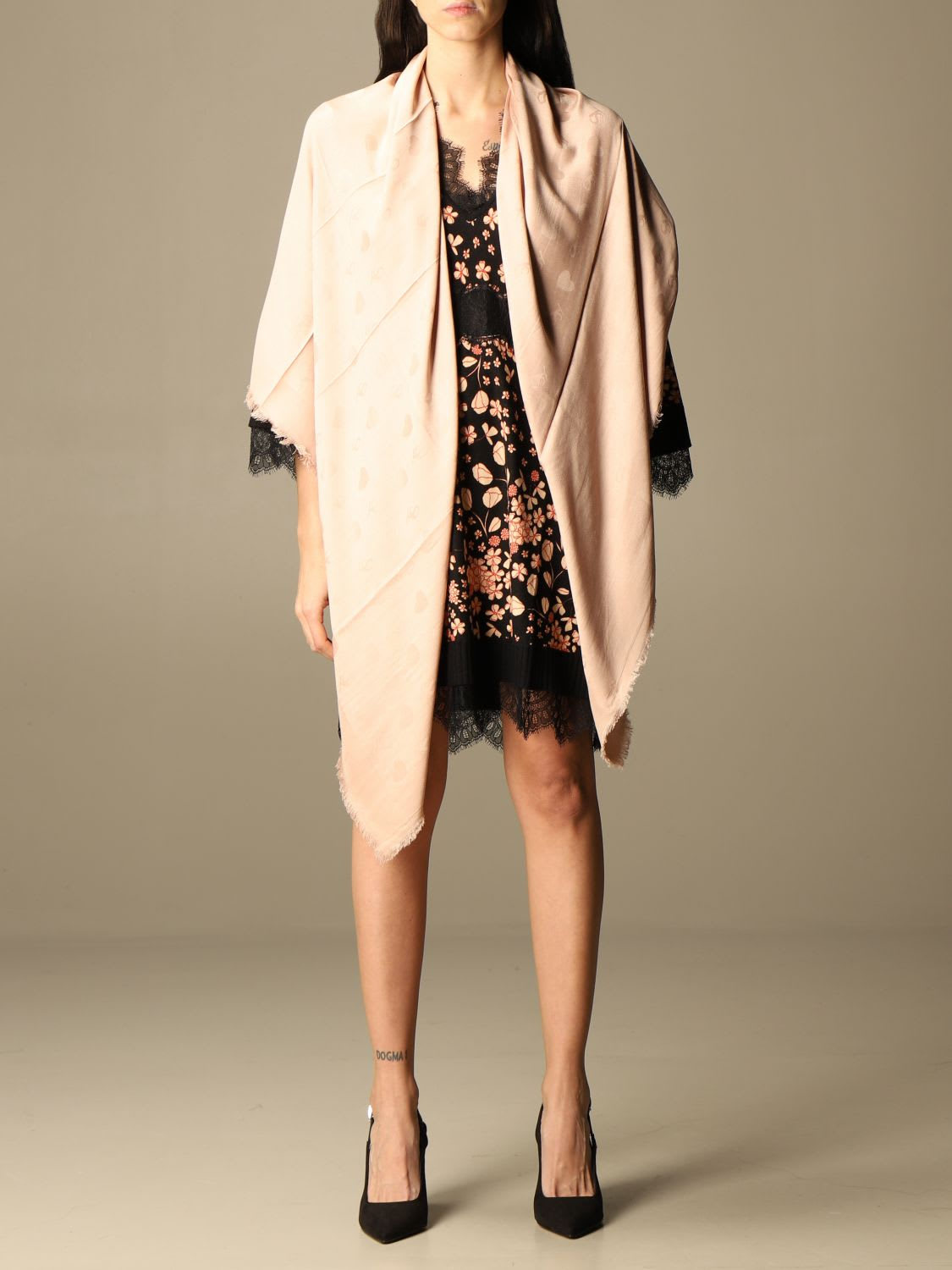Twinset Twin Set Scarf Twin-set Kefia With All-over Jacquard Logo In Blush Pink