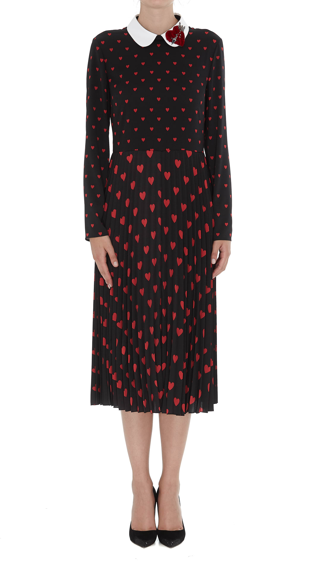 Red Valentino Hearts Print Detail Heart Patch Dress