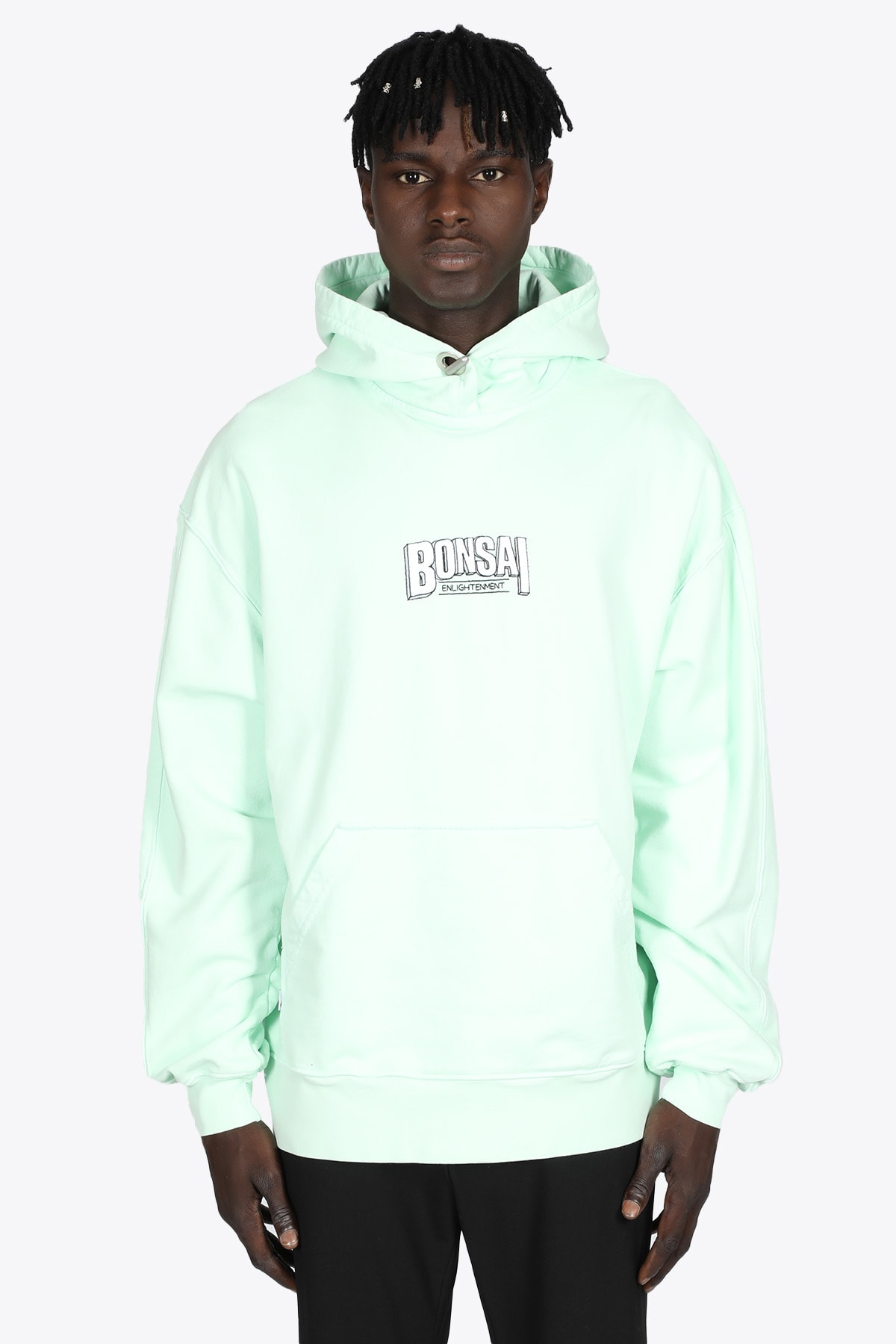 Mint Green Cotton Hoodie With Logo Emrboidery