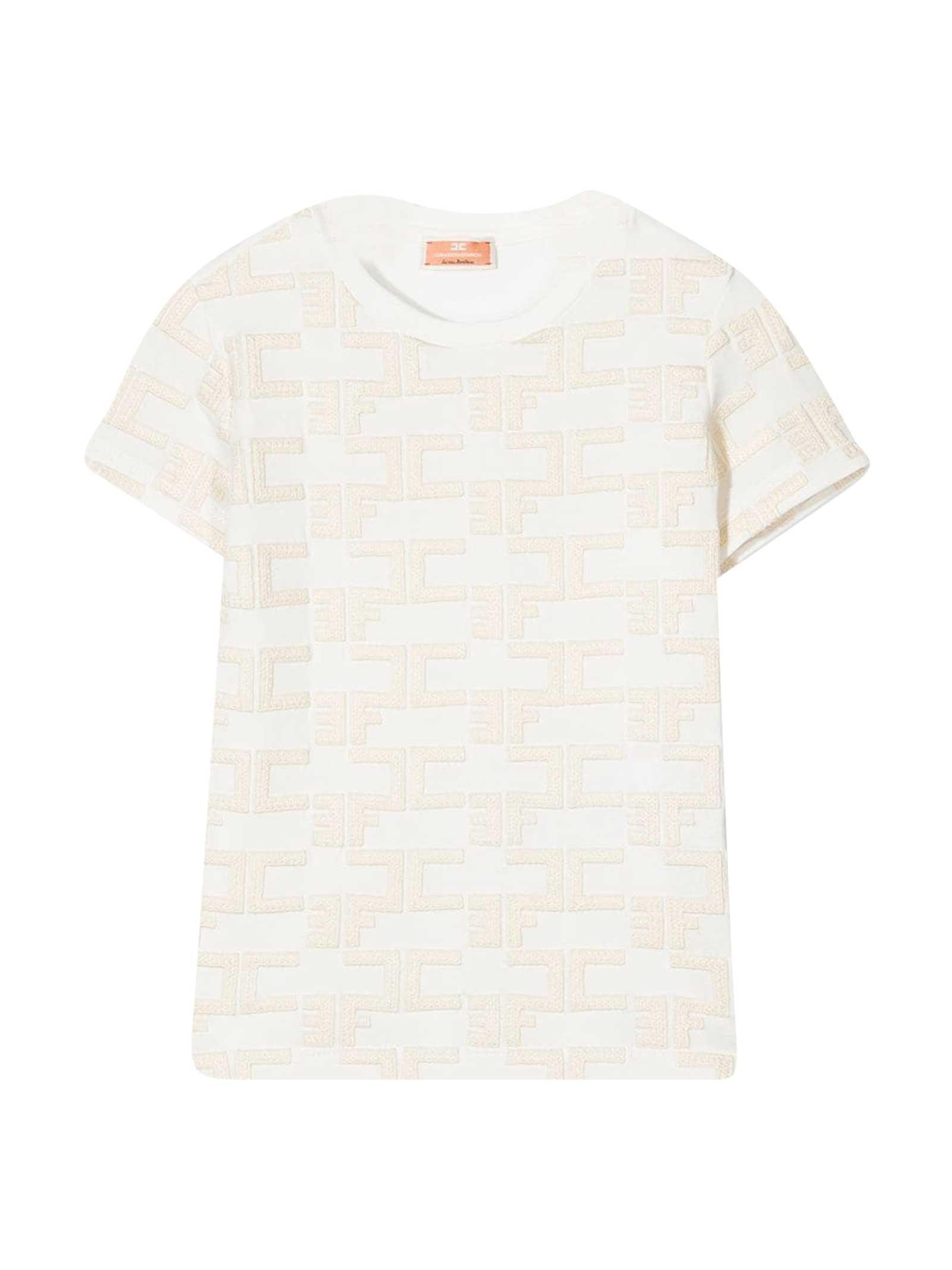 Elisabetta Franchi La Mia Bambina Cottons WHITE T-SHIRT