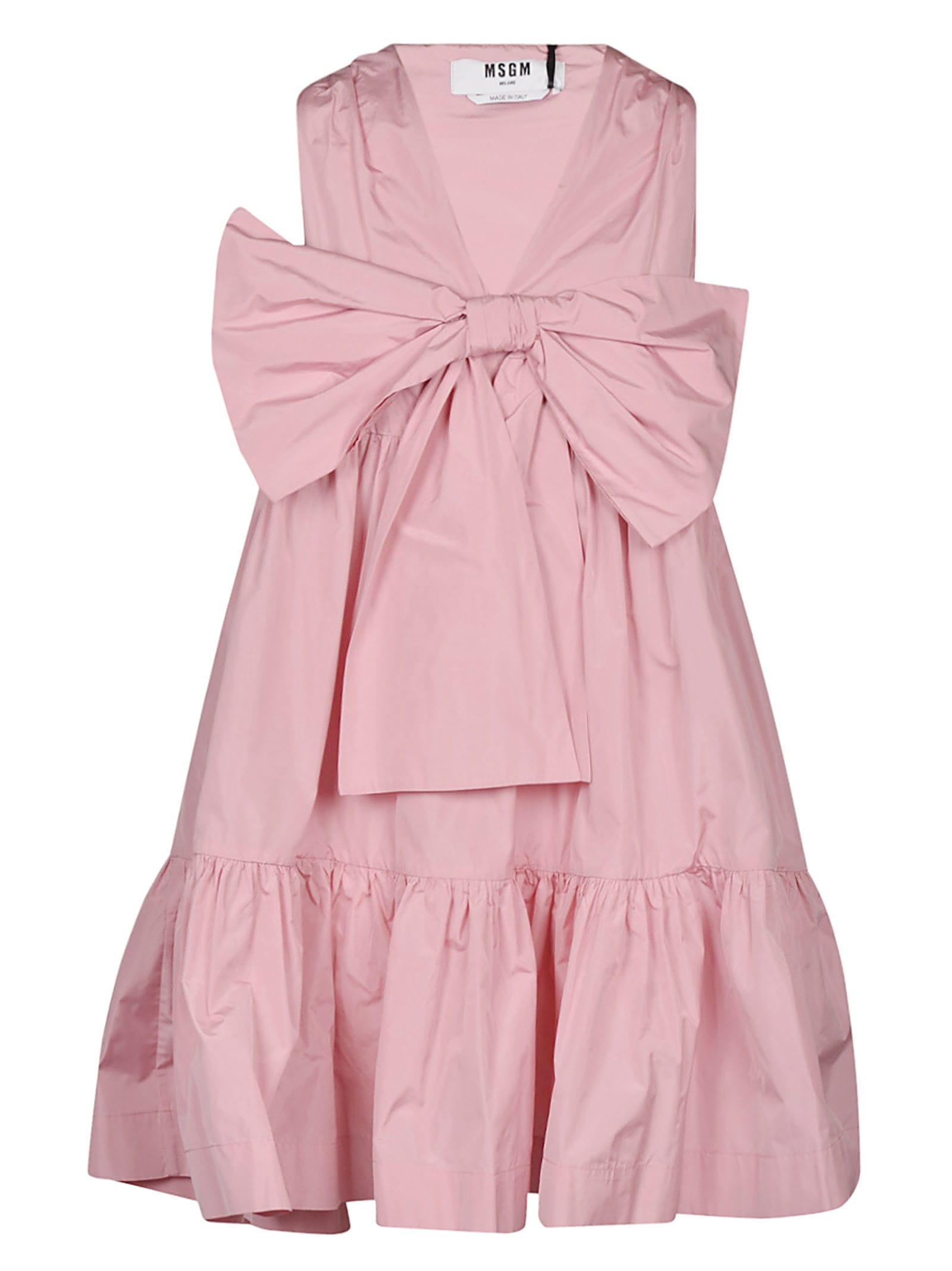 Buy MSGM Bow Detail Flared Sleeveless Dress online, shop MSGM with free shipping