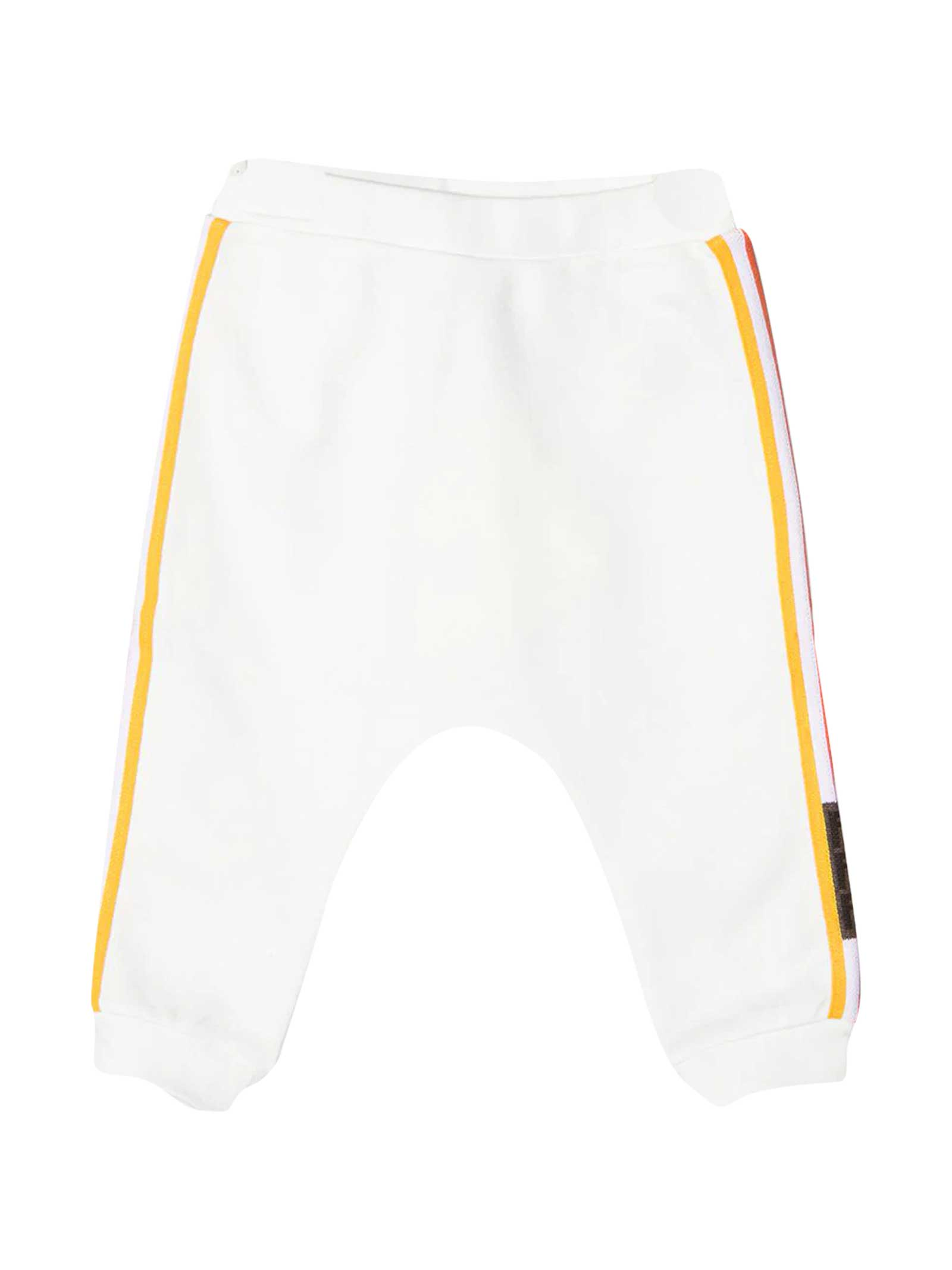 Fendi Cottons WHITE TROUSERS WITH SIDE MULTICOLOR BANDS