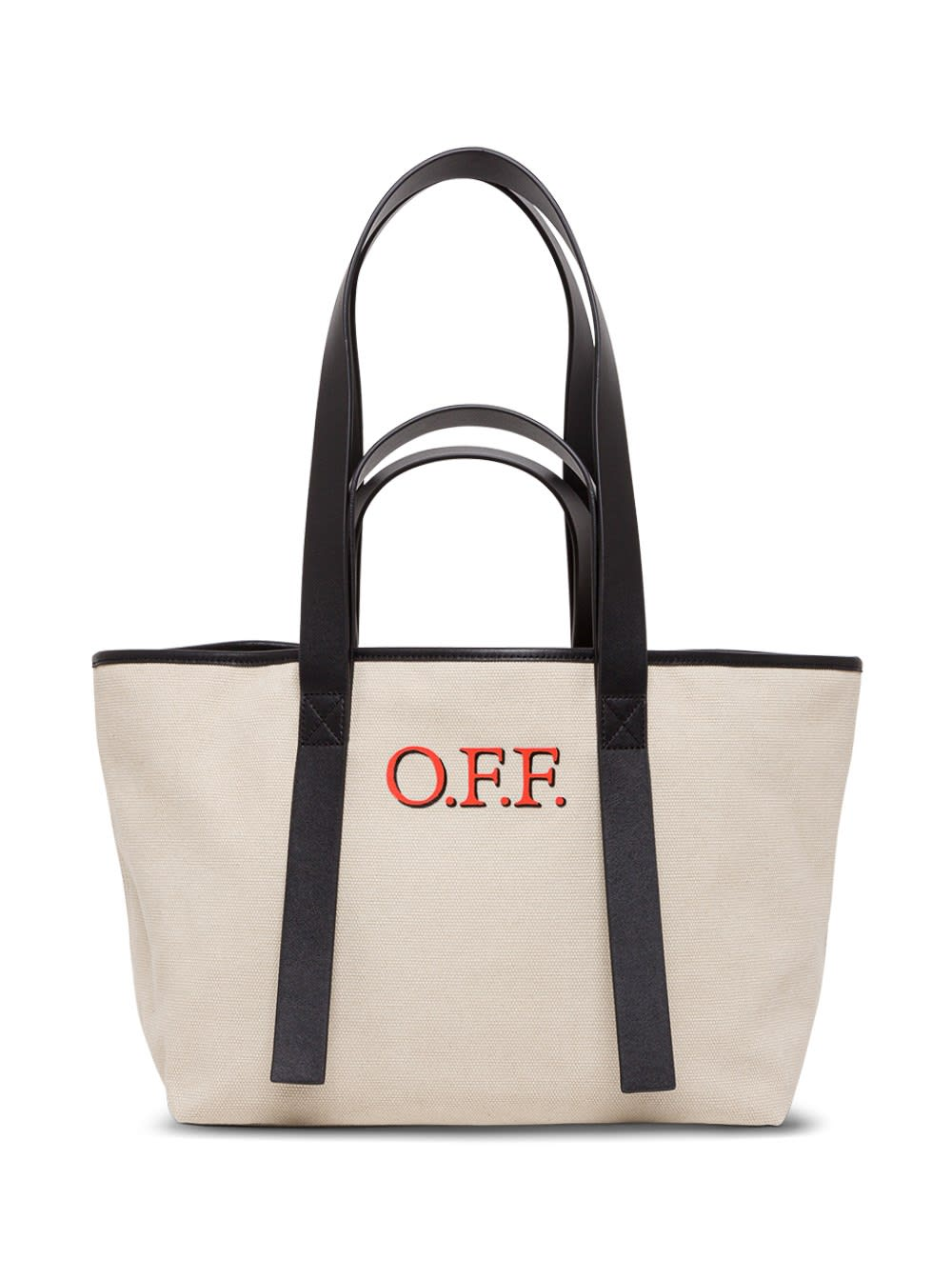 Off-white Tote Commercial Shopper In Canvas In Beige