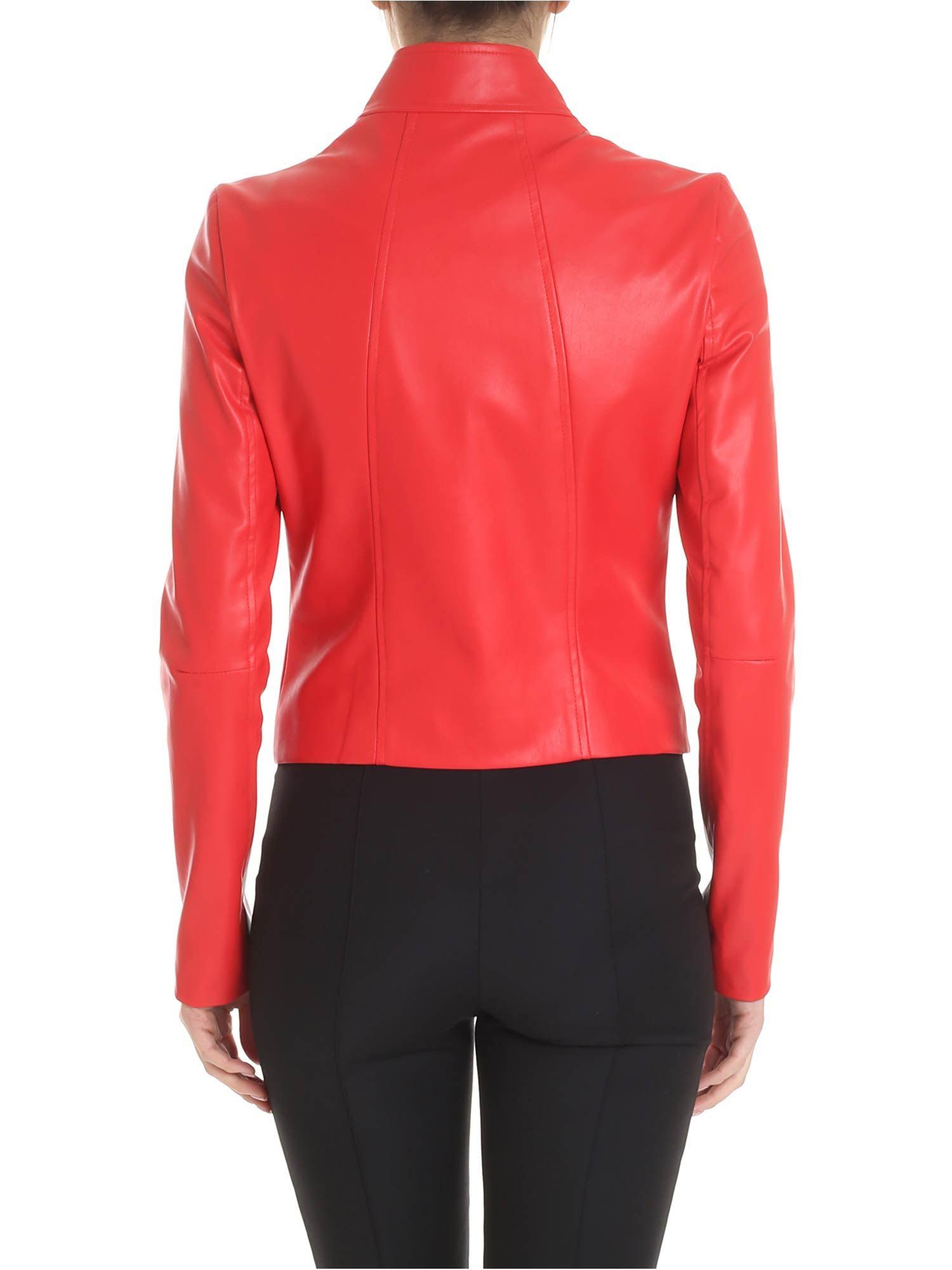473154205 Patrizia Pepe Red Faux Leather Jacket