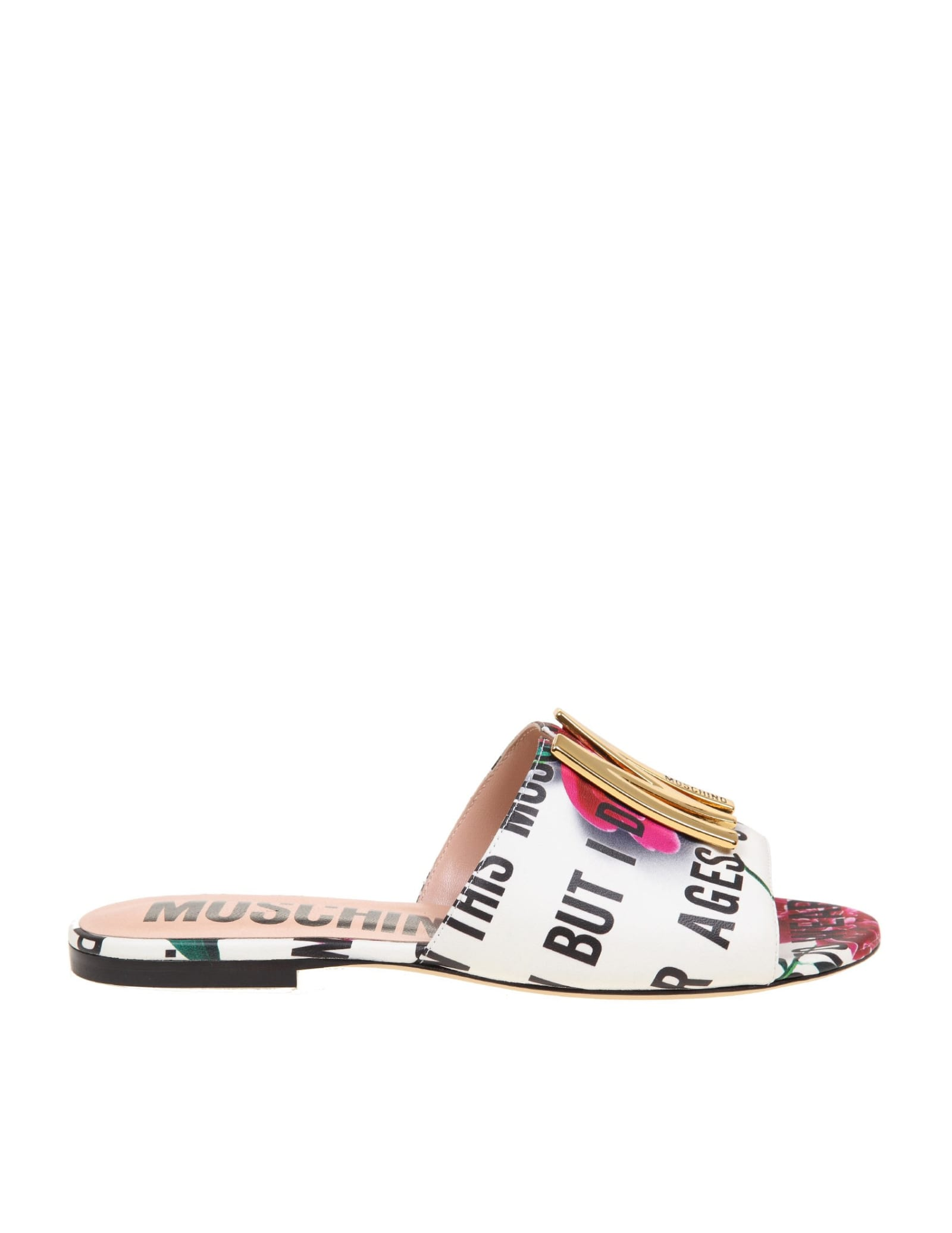 Moschino FLAT SANDAL IN CALFSKIN WITH FLOWER FANTASY