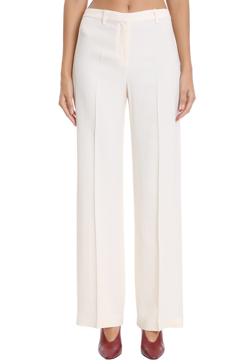 Theory Wide Trouser Pants In White Viscose