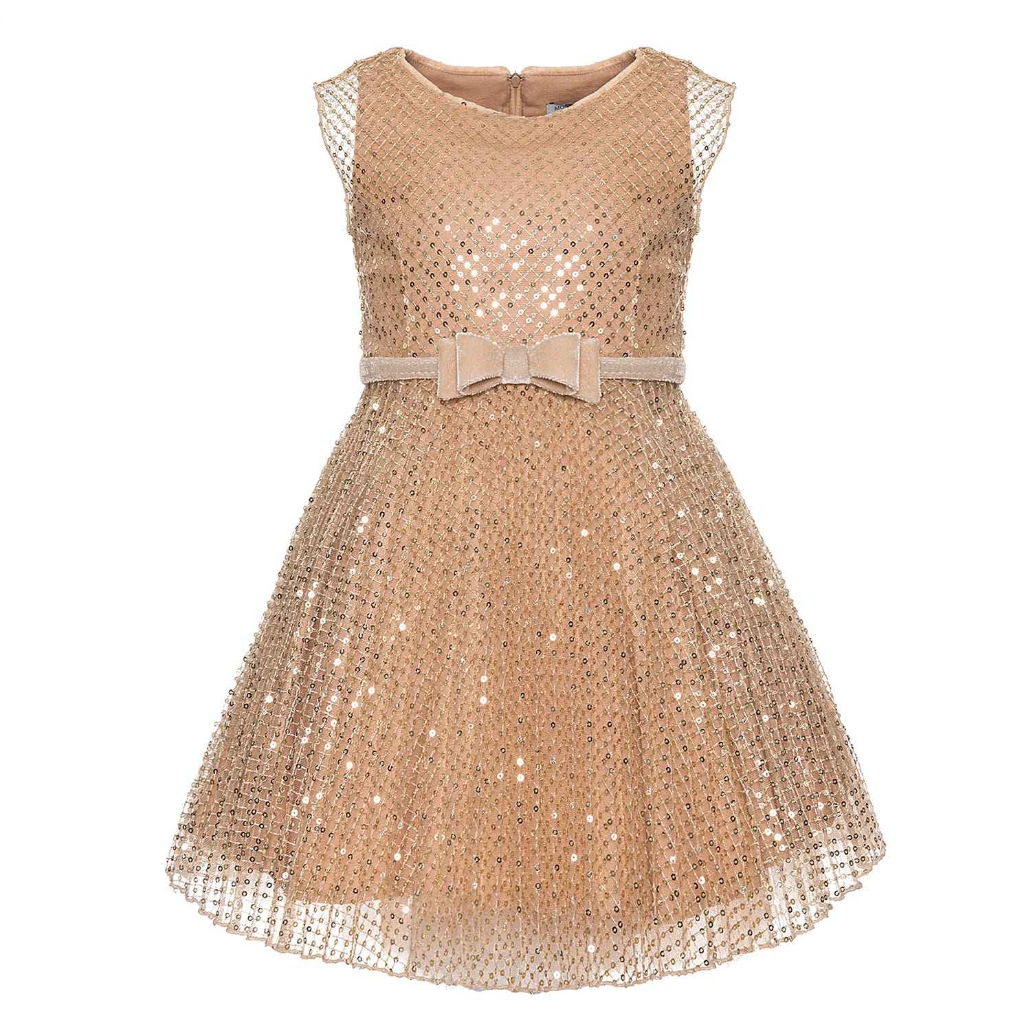 Monnalisa Paillettes Plisse Dress