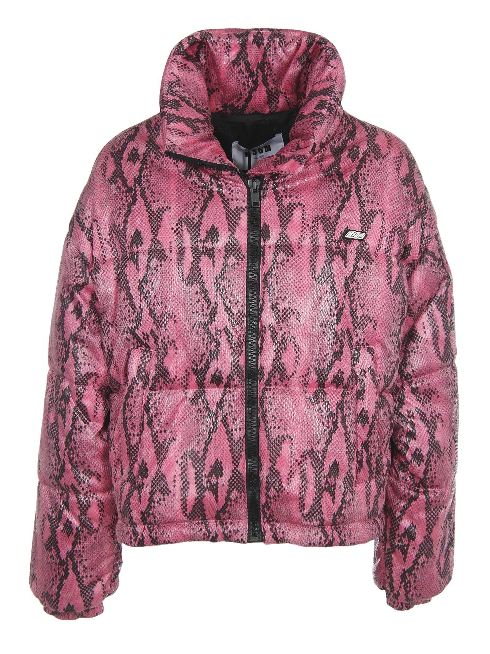 MSGM Down Jacket Pink Python Print