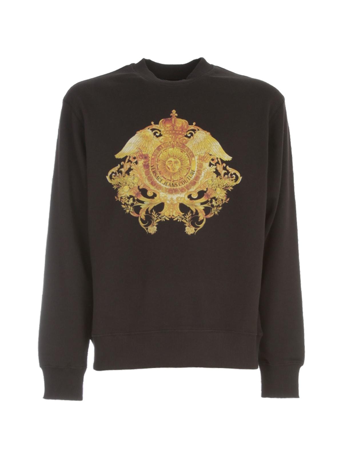Versace Jeans Couture Round Neck Sweatshirt W/logo In Nero