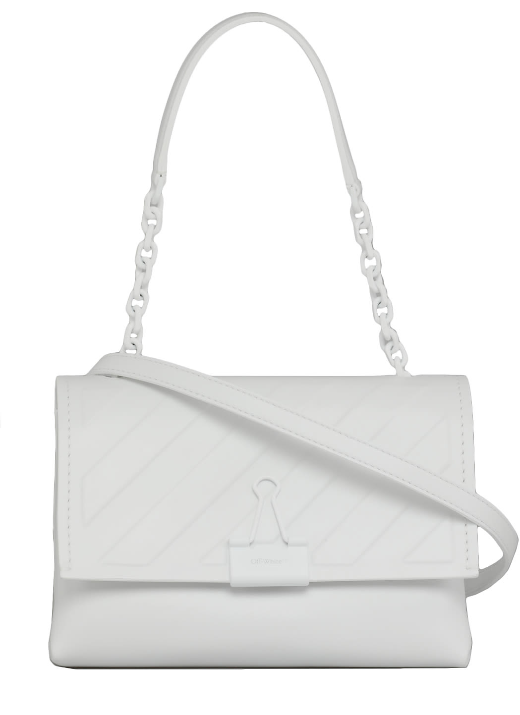 Off-White Leathers DIAG EMBOSSED BAG WITH CLIP
