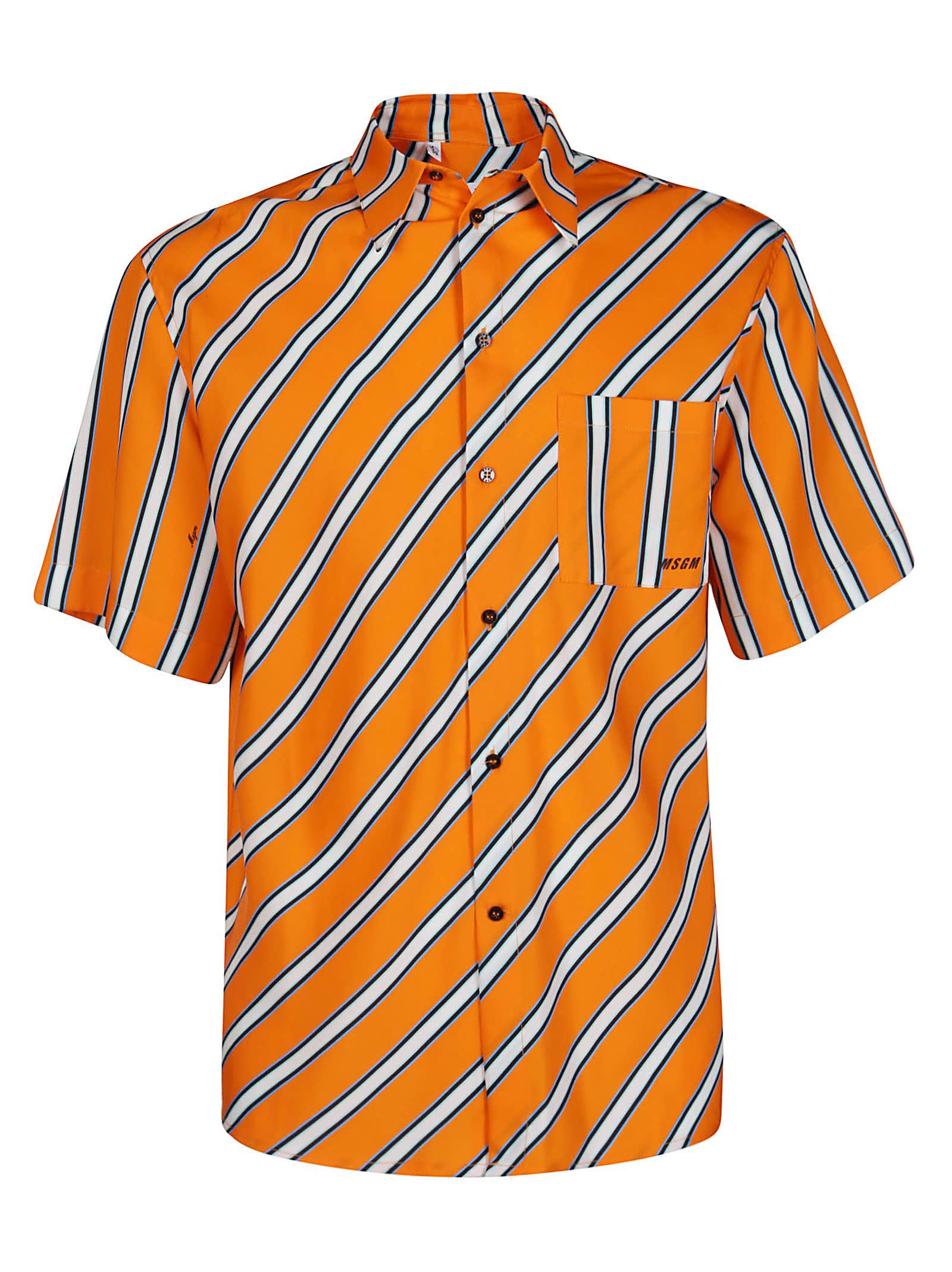 MSGM Orange Tencel Shirt