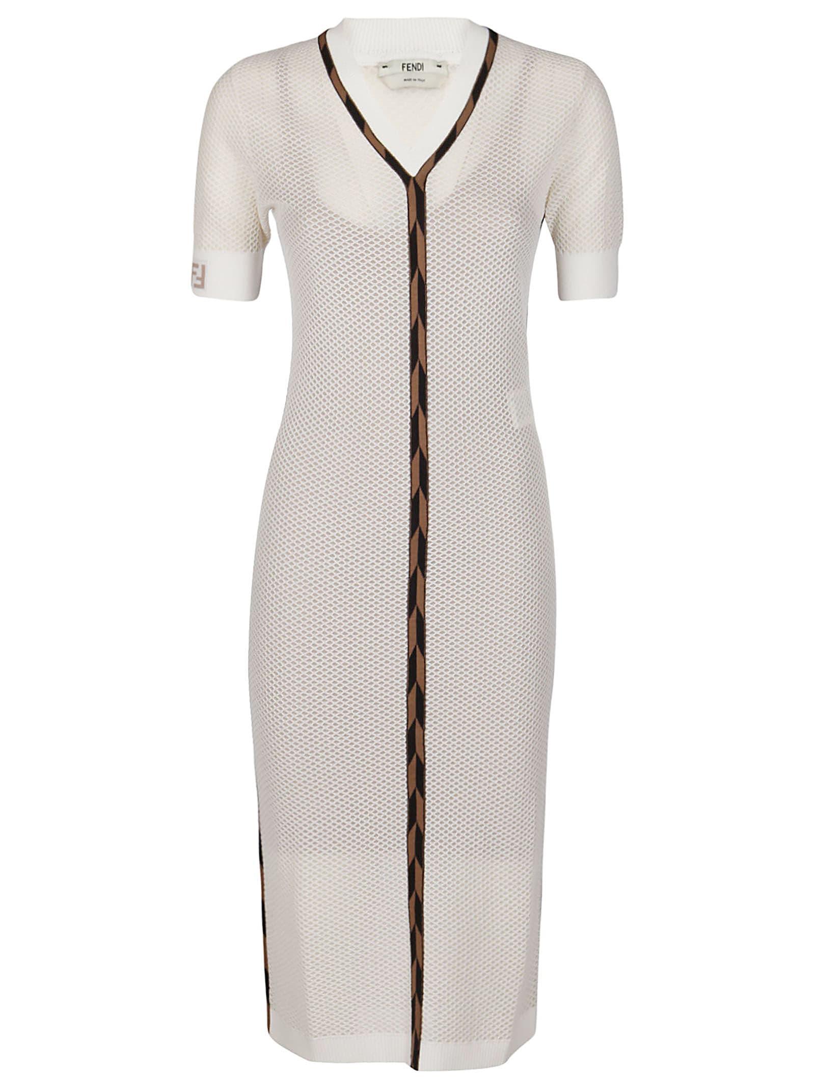 Buy Fendi White Viscose Blend Dress online, shop Fendi with free shipping