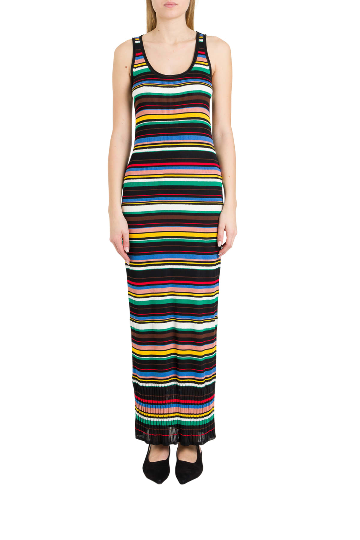 Buy M Missoni Ribbed Knit Dress With Multicolor Striped Pattern online, shop M Missoni with free shipping