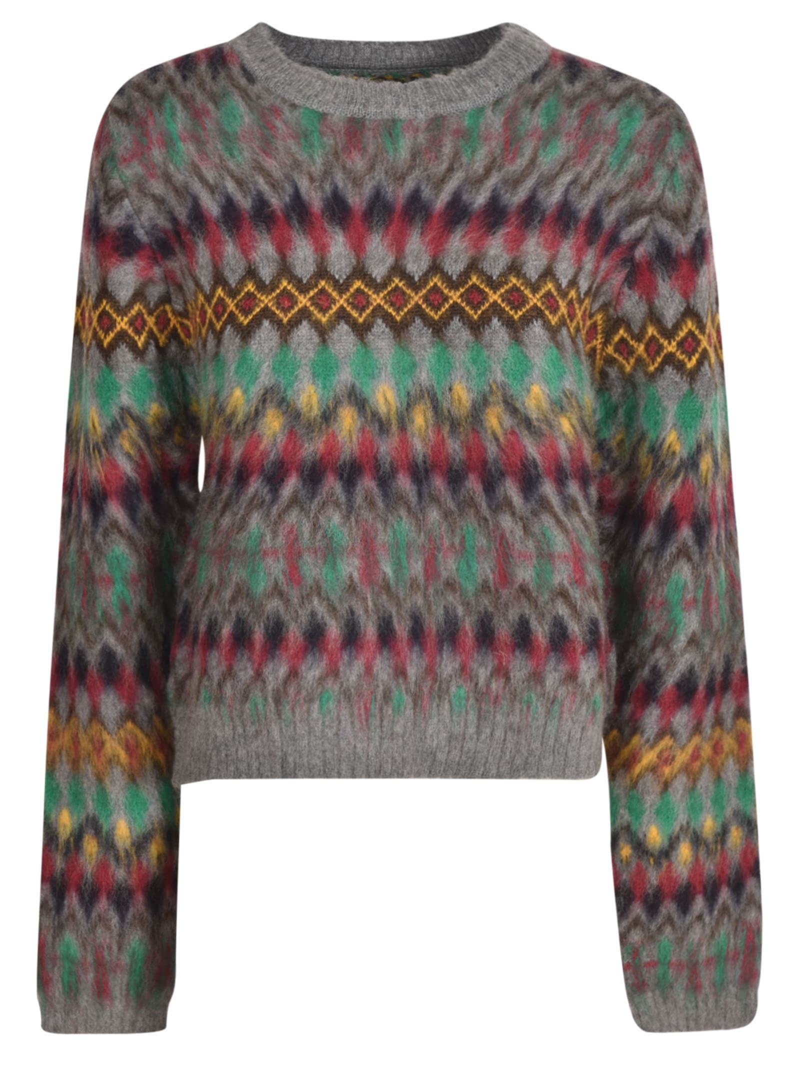 Maison Margiela Knitted Cardigan In Grey/multicolor