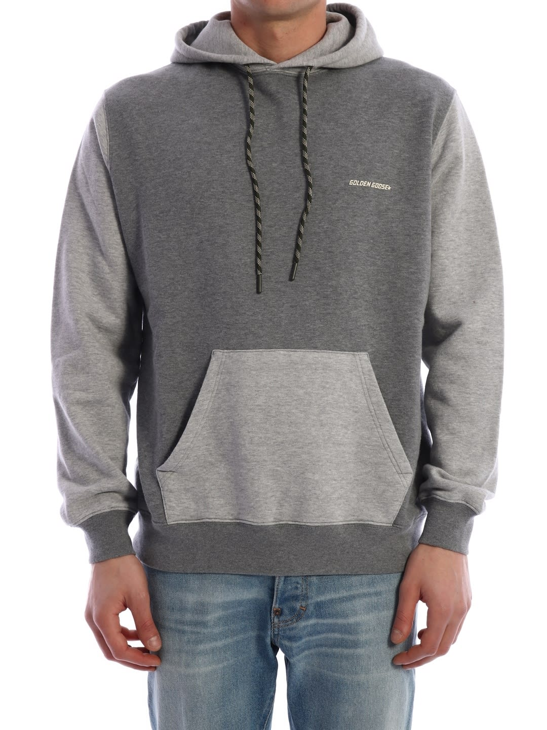 Two-tone gray cotton hoodie with kangaroo pocket. The model is 183 tall and wears size MComposition: 100% Cotton