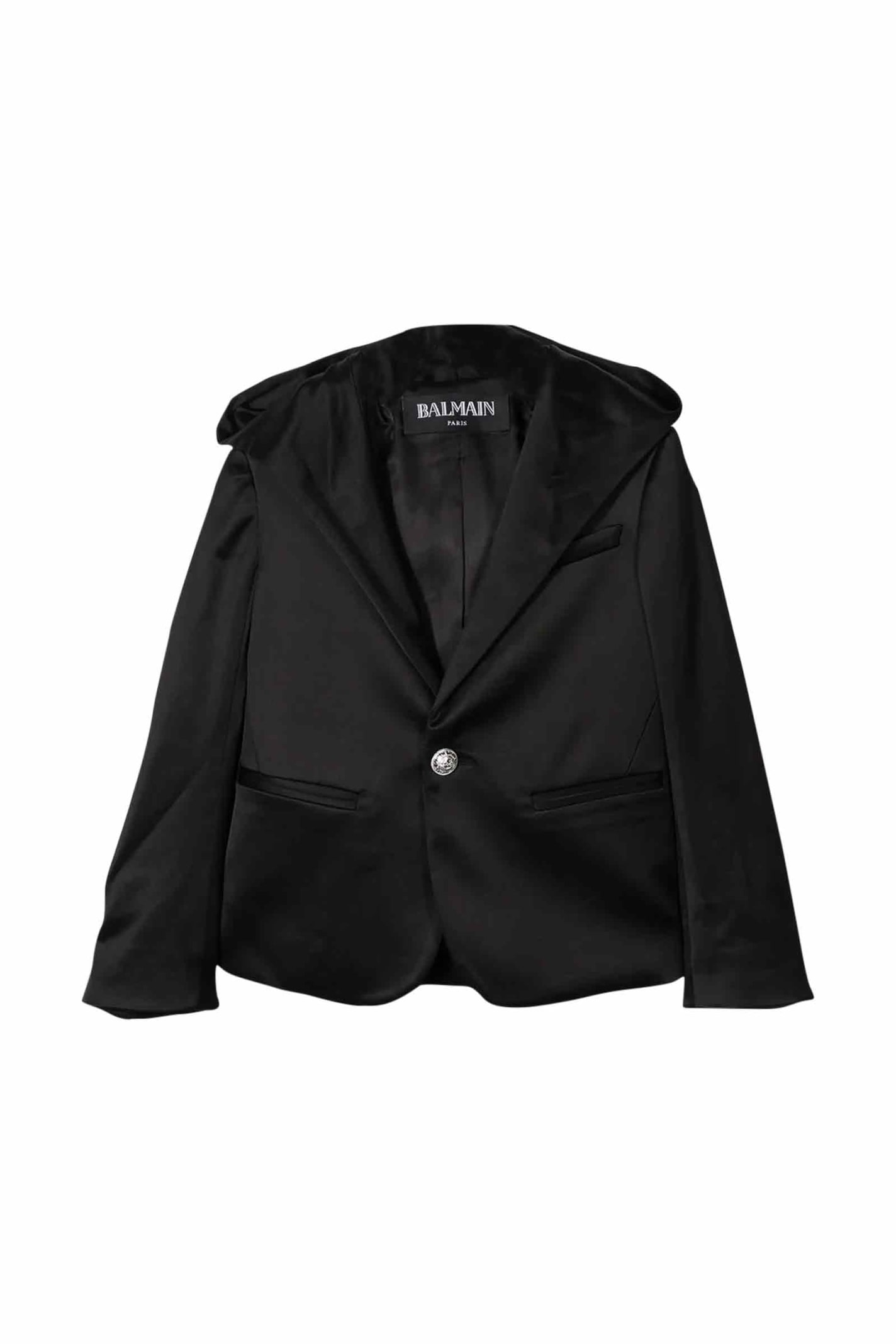 Balmain Kids' Single Button Blazer In Nero