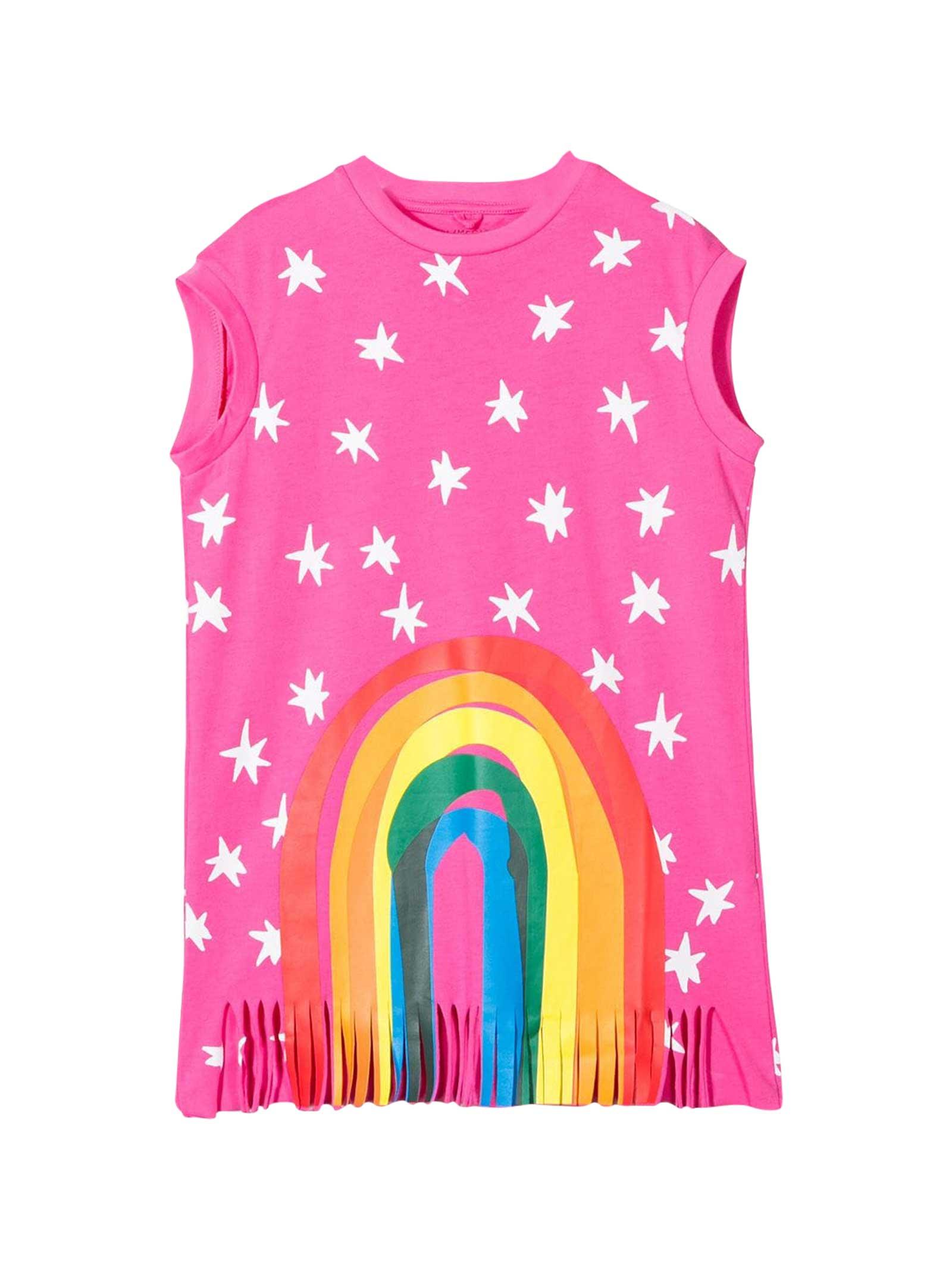 Buy Stella McCartney Kids Pink Dress With Multicolor Press online, shop Stella McCartney Kids with free shipping