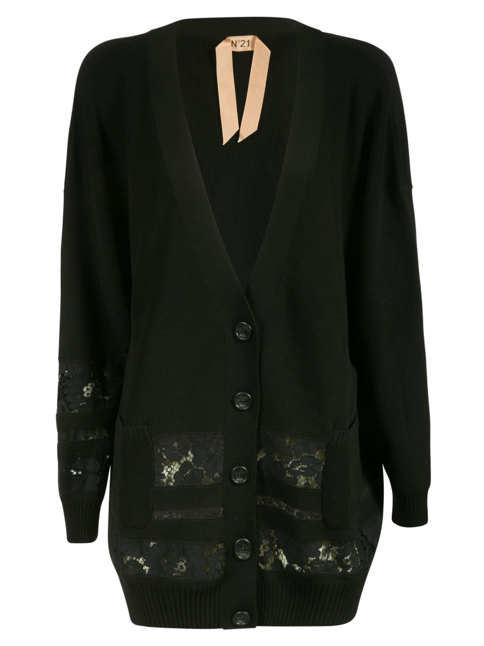 N°21 FLORAL DETAIL BUTTONED CARDIGAN