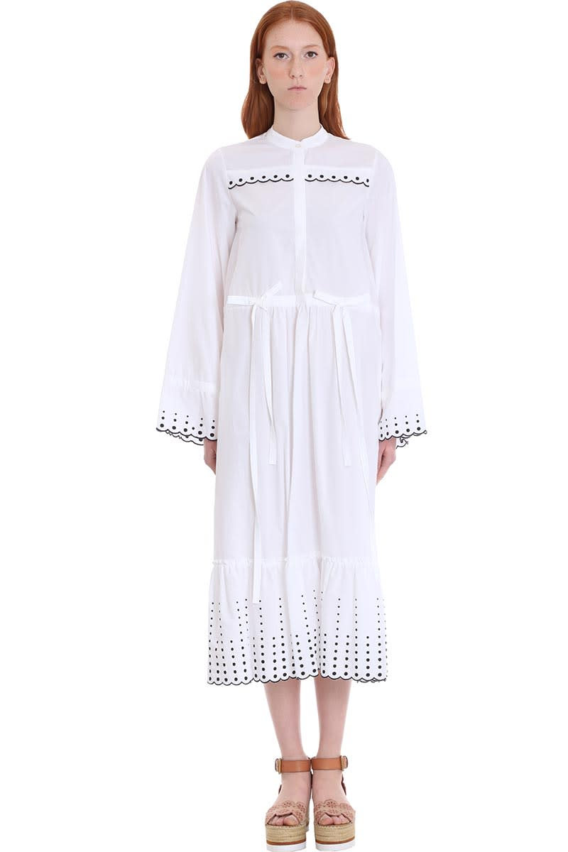 Buy See by Chloé Dress In White Cotton online, shop See by Chloé with free shipping