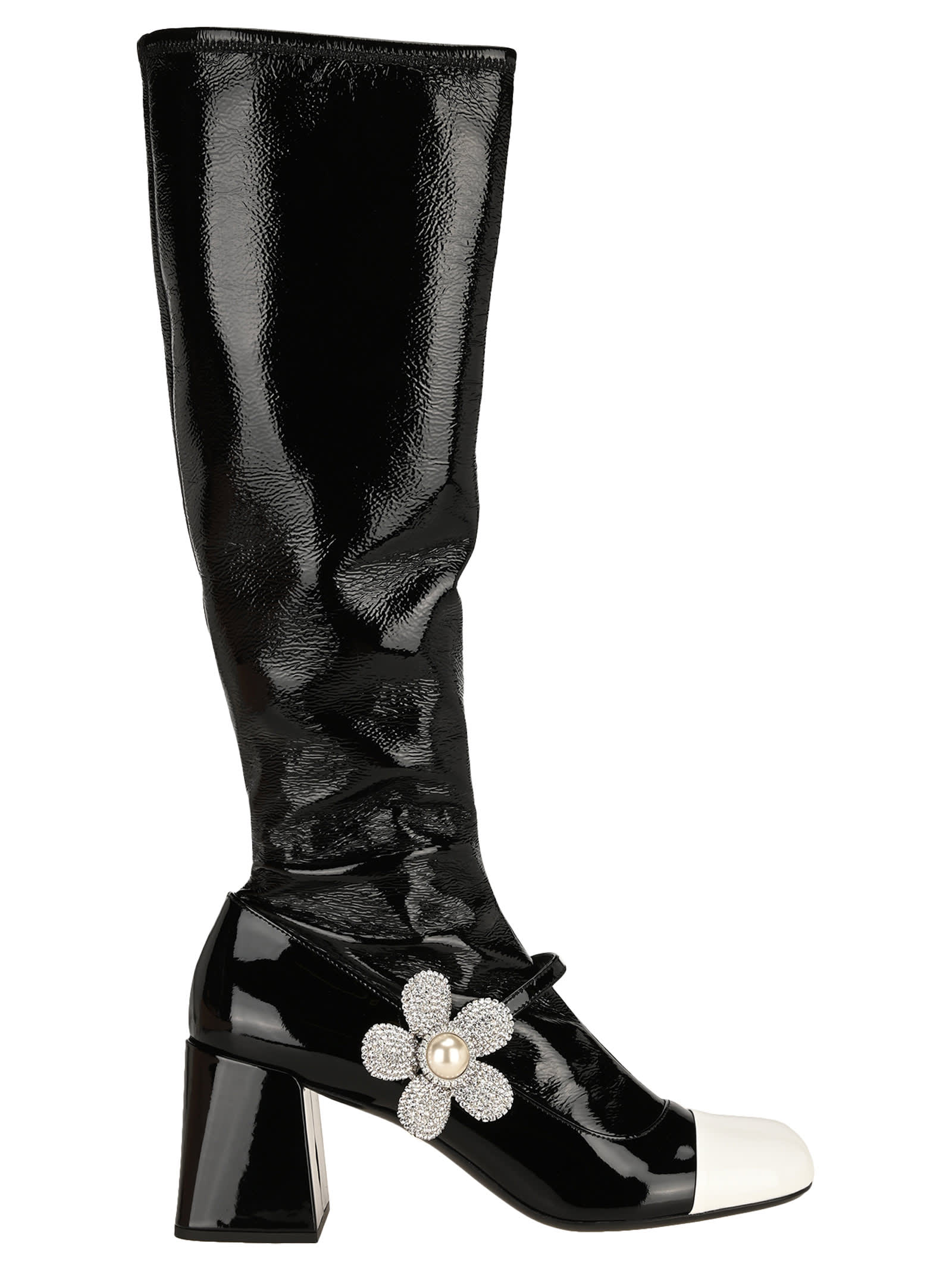Miu Miu Embellished Patent Leather Boots