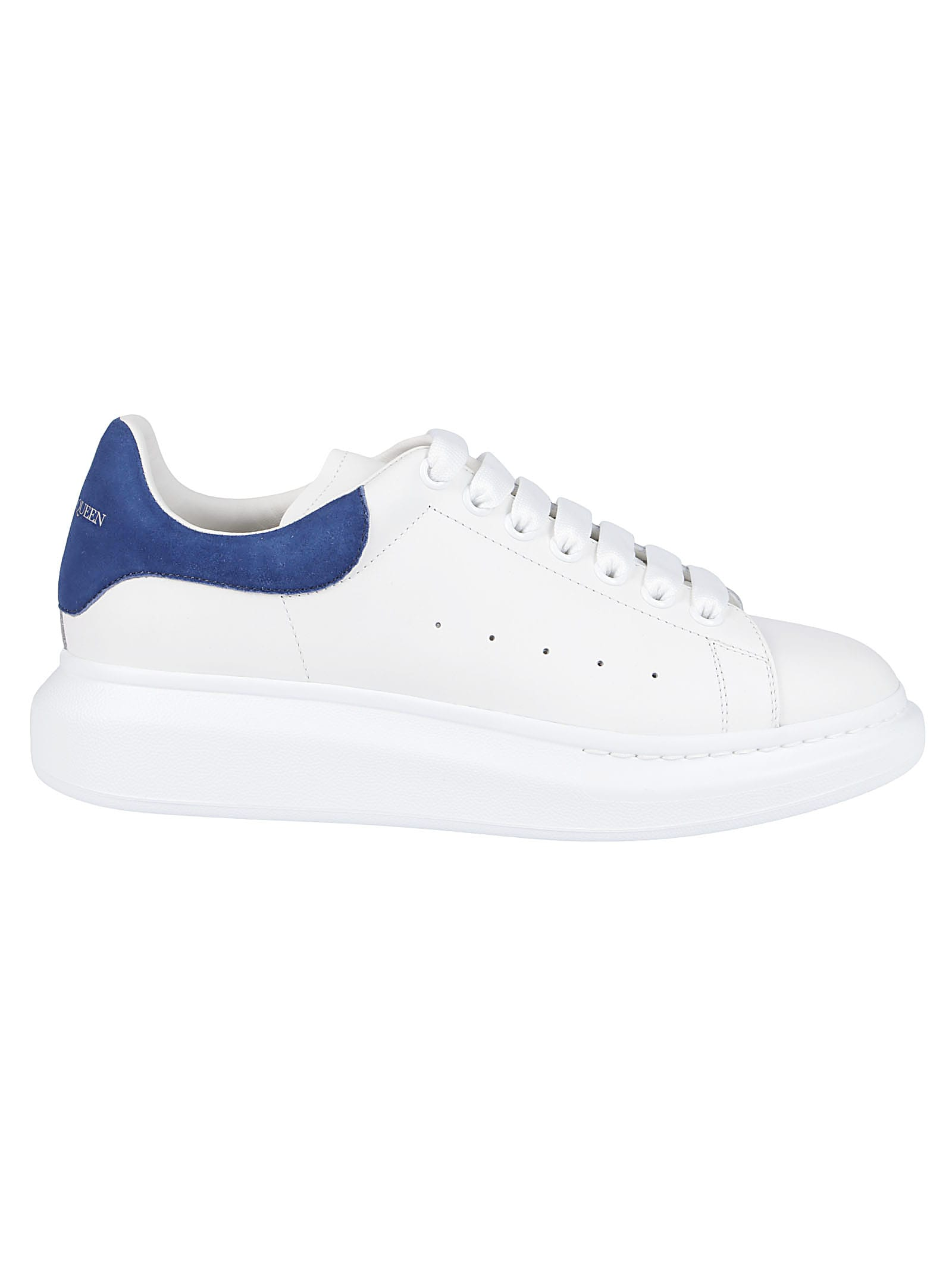 Alexander Mcqueen Leathers WHITE AND BLUE LEATHER OVERSIZED SNEAKERS